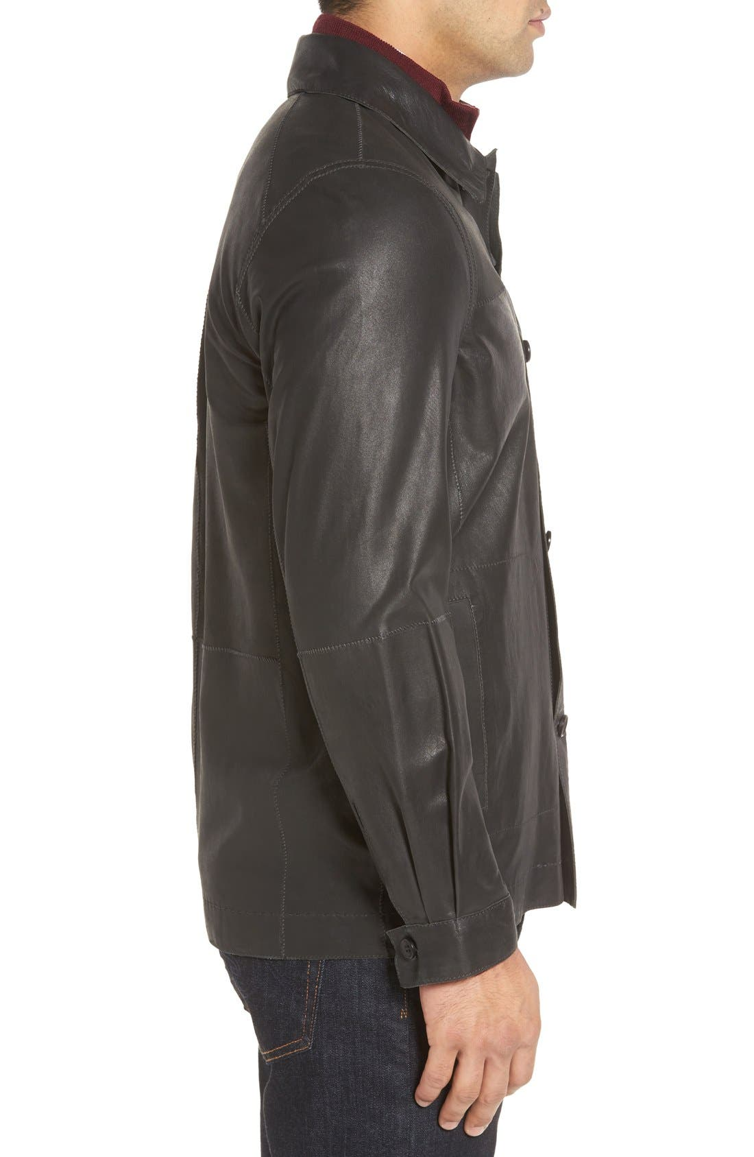 Vintage Lambskin Leather Reversible Jacket,                             Alternate thumbnail 3, color,                             001