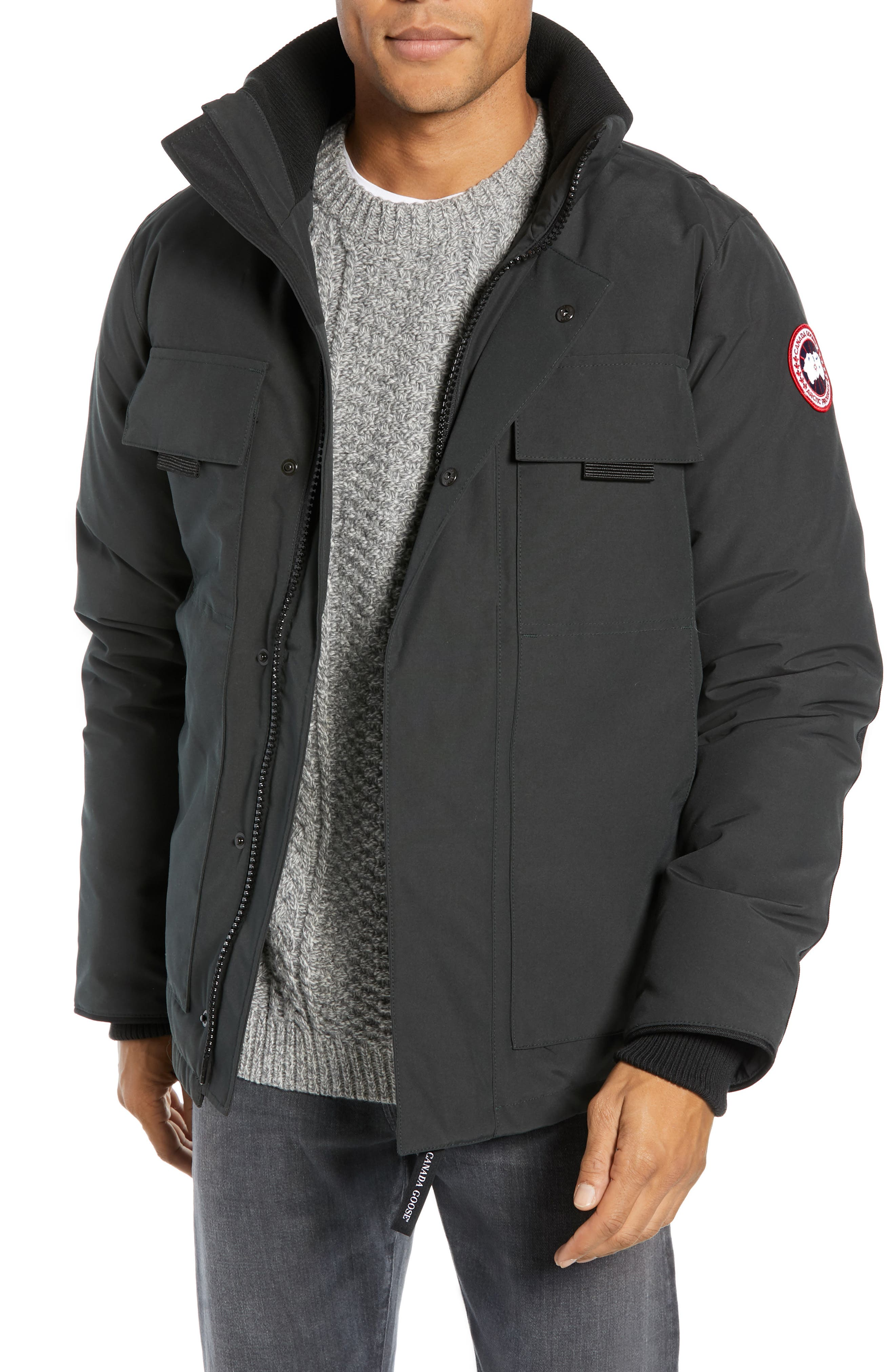 CANADA GOOSE,                             Forester Slim Fit Jacket,                             Main thumbnail 1, color,                             BLACK