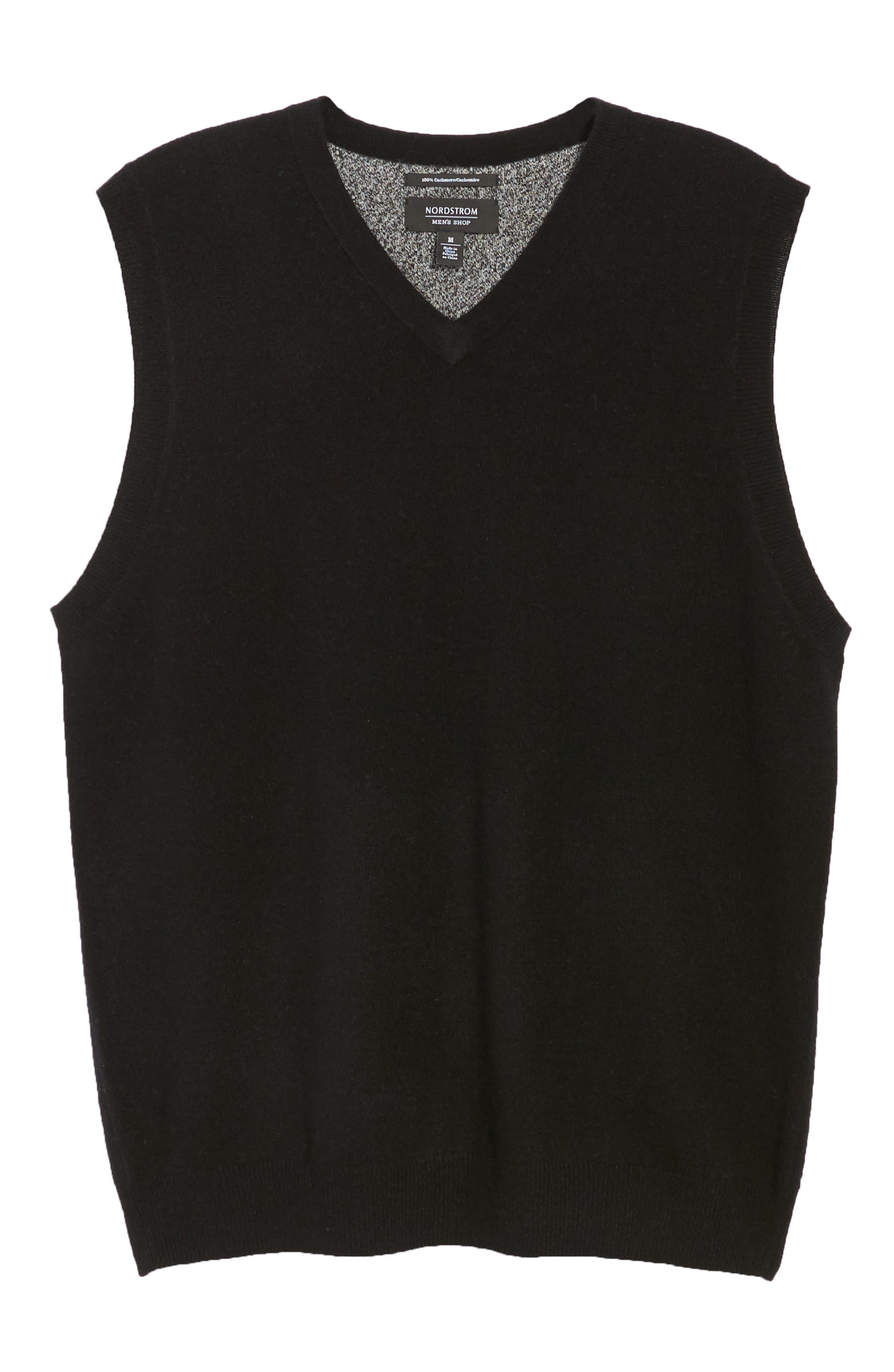 Cashmere V-Neck Sweater Vest,                             Alternate thumbnail 6, color,                             BLACK CAVIAR