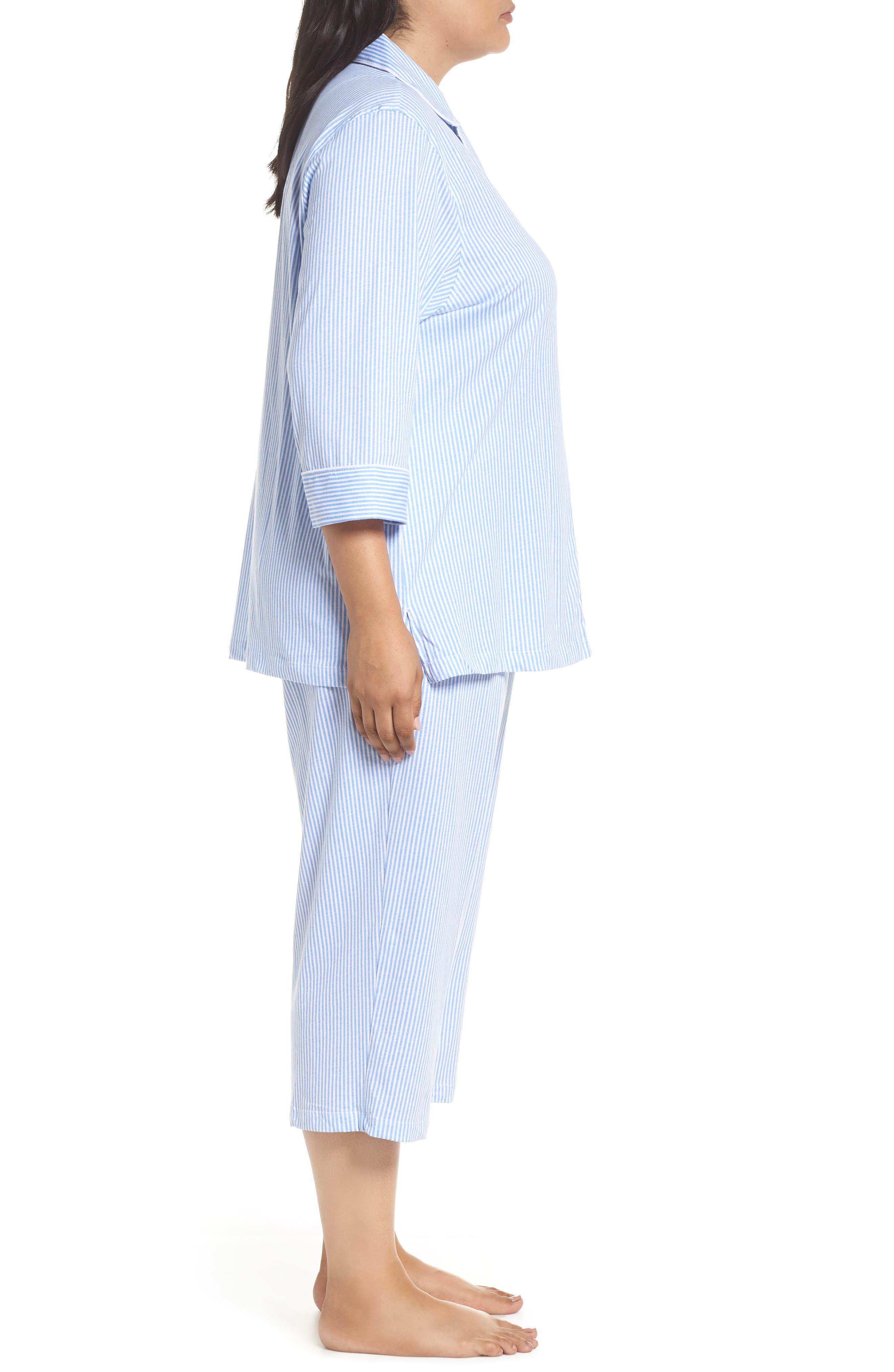 Knit Crop Pajamas,                             Alternate thumbnail 15, color,