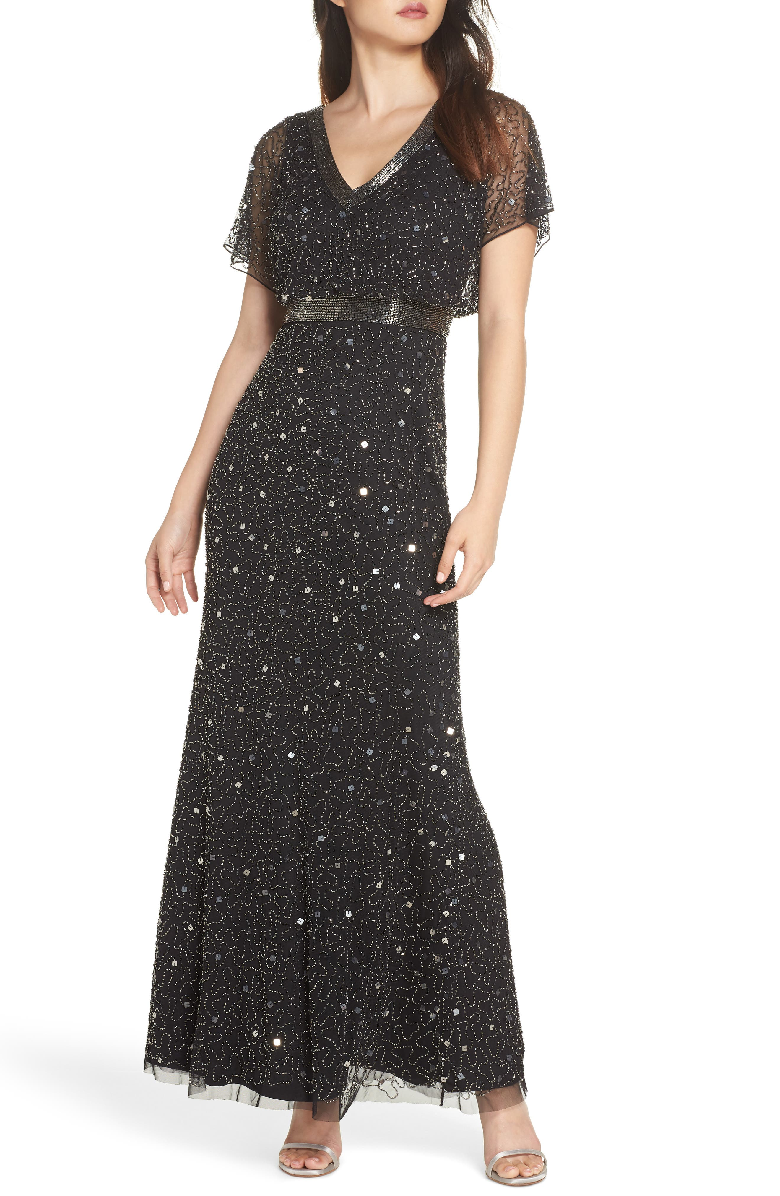 1930s Dresses | 30s Art Deco Dress Womens Adrianna Papell Bead Embellished Dress Size 16 - Black $197.40 AT vintagedancer.com