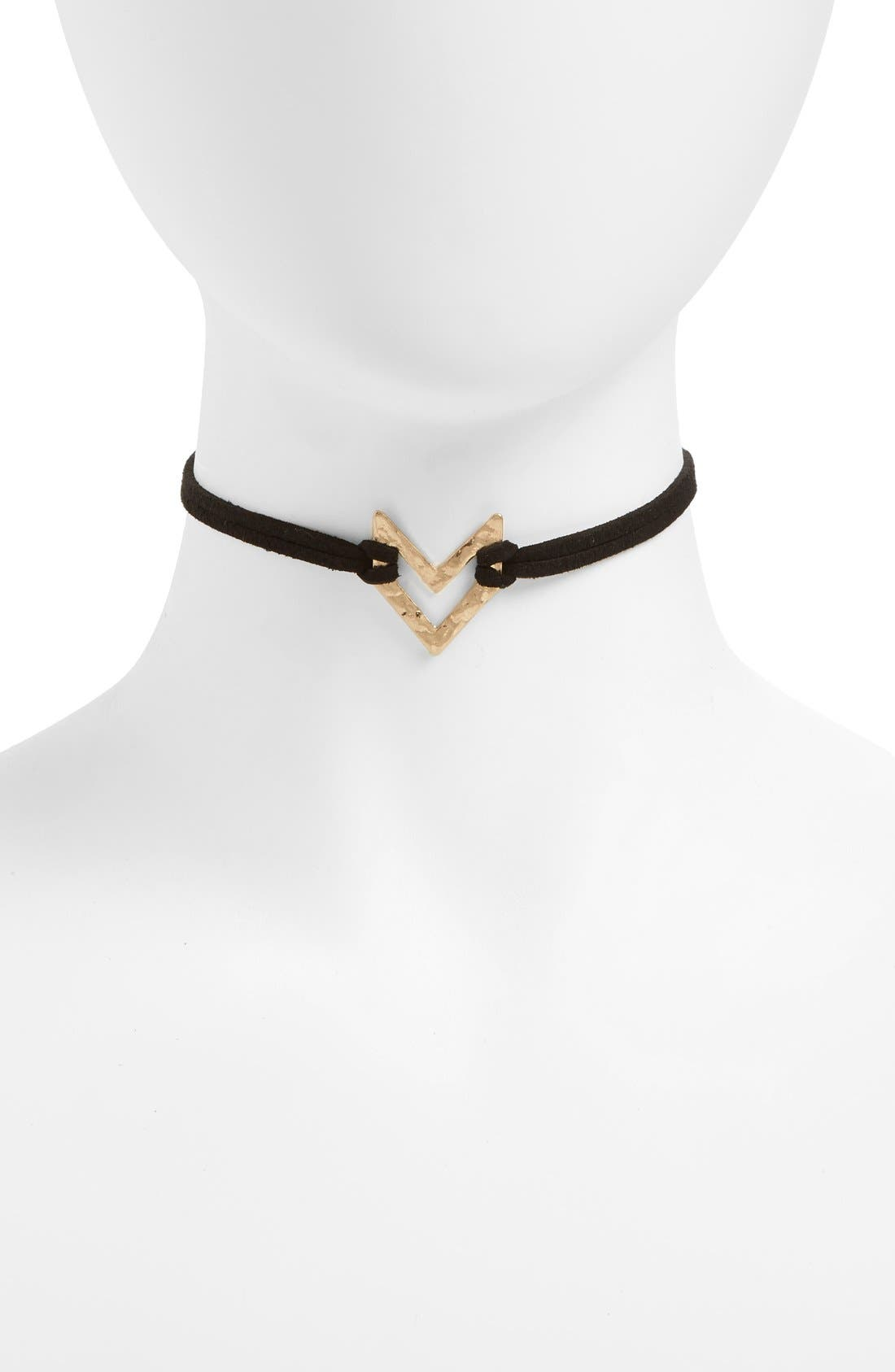 CANVAS JEWELRY Chevron Leather Choker, Main, color, 001