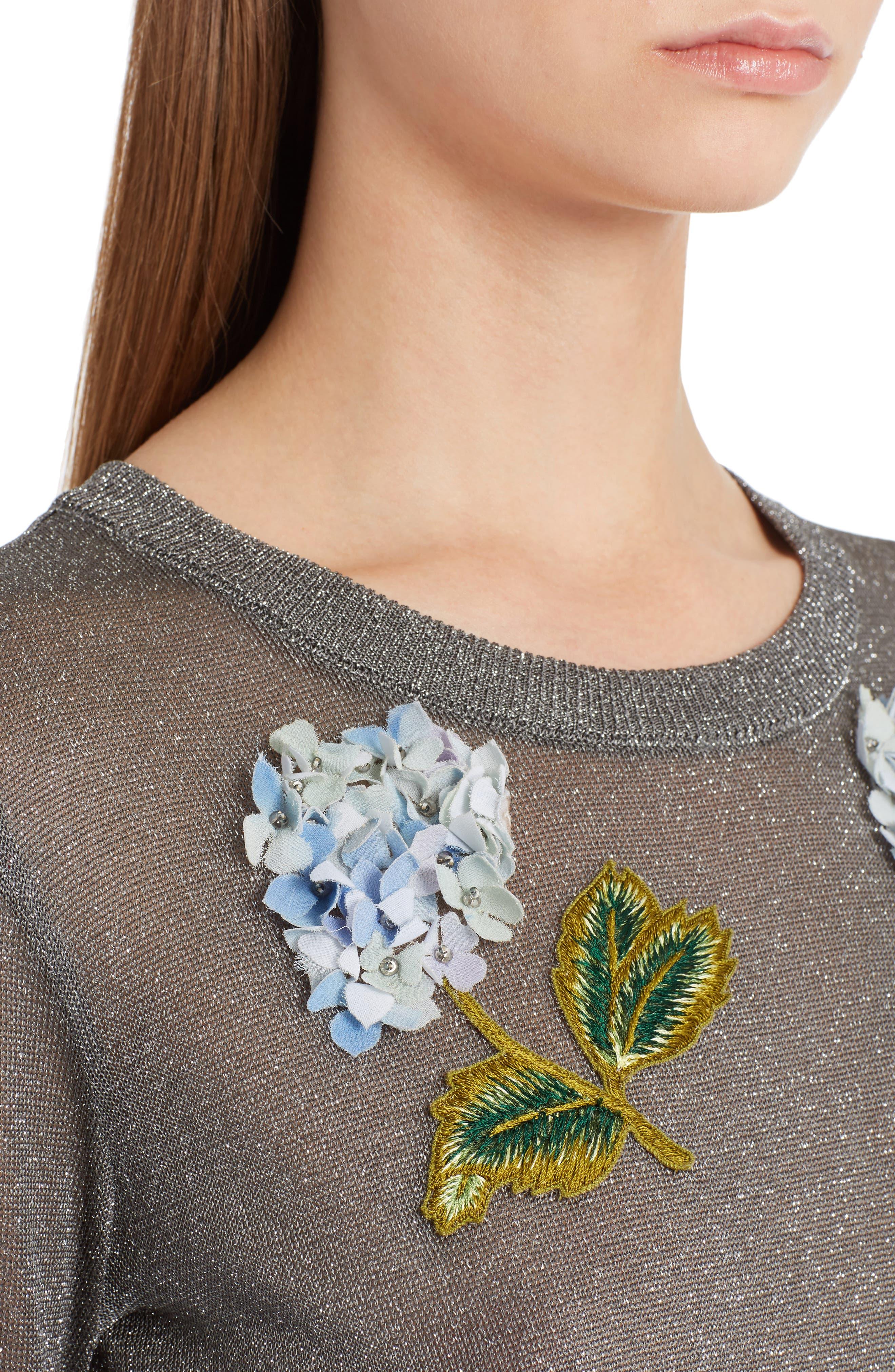 Embellished Metallic Sweater,                             Alternate thumbnail 4, color,