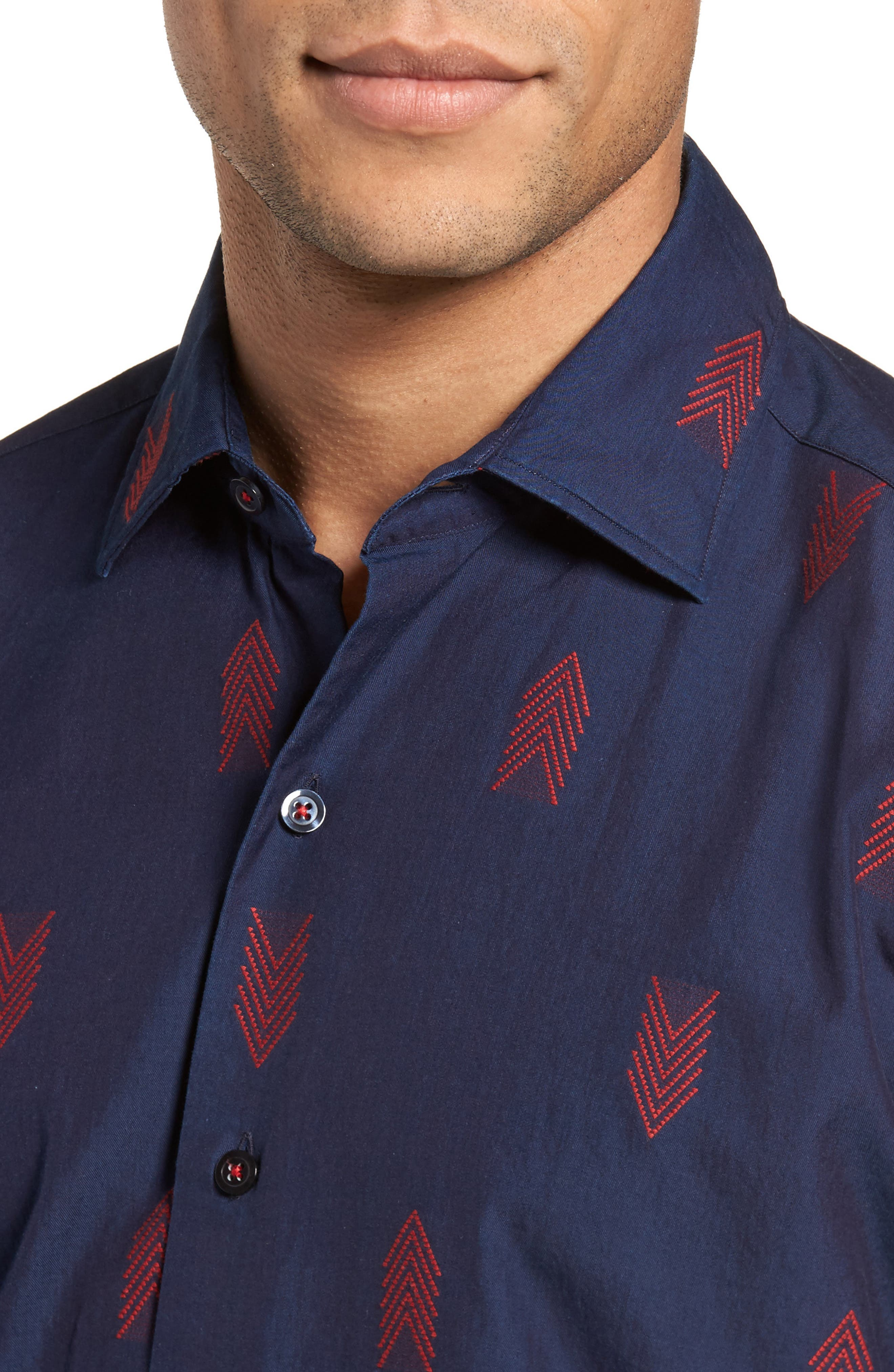 Slim Fit Embroidered Sport Shirt,                             Alternate thumbnail 4, color,                             400