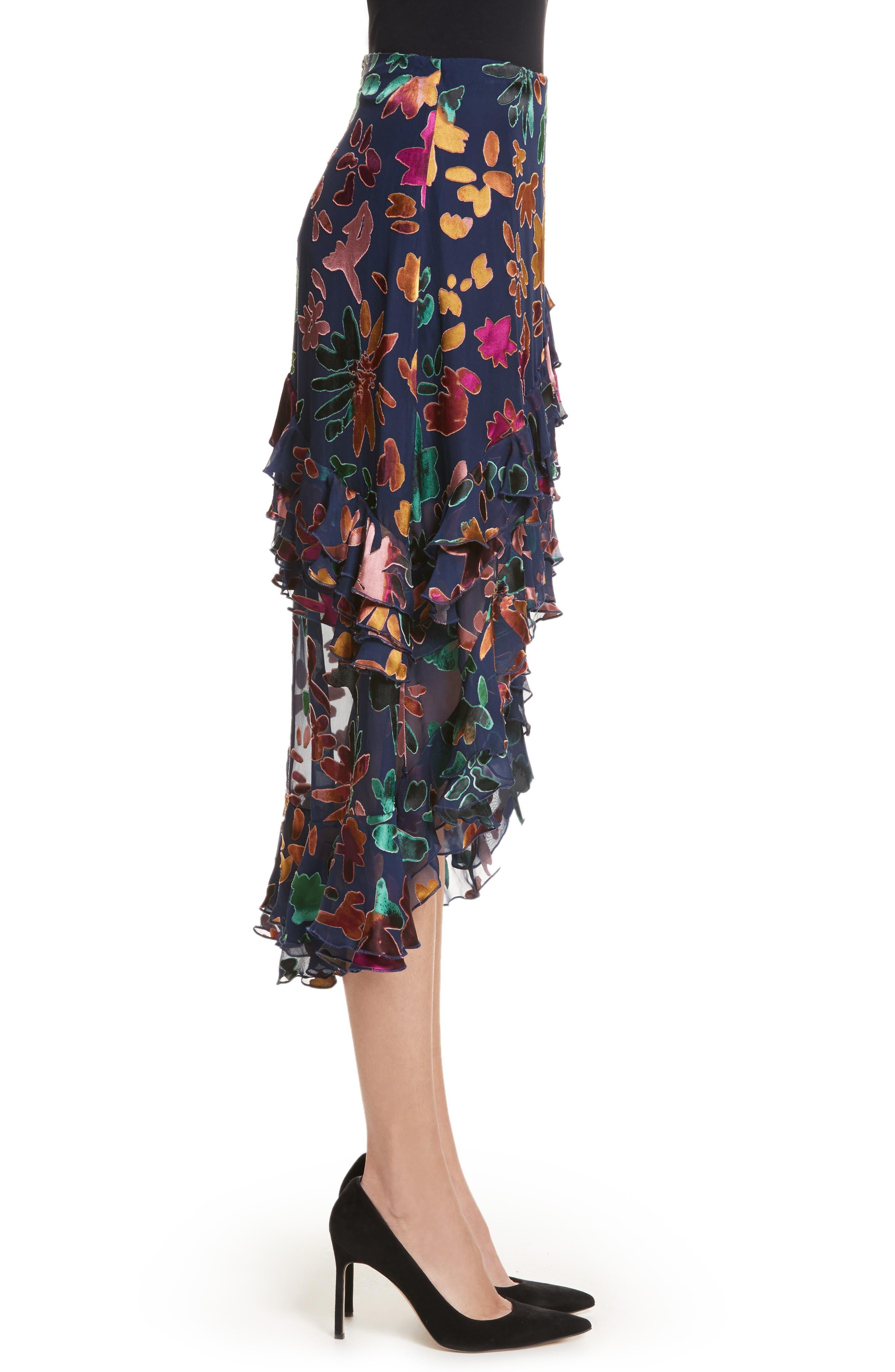 Sasha Asymmetrical Tiered Ruffle Skirt,                             Alternate thumbnail 3, color,                             471