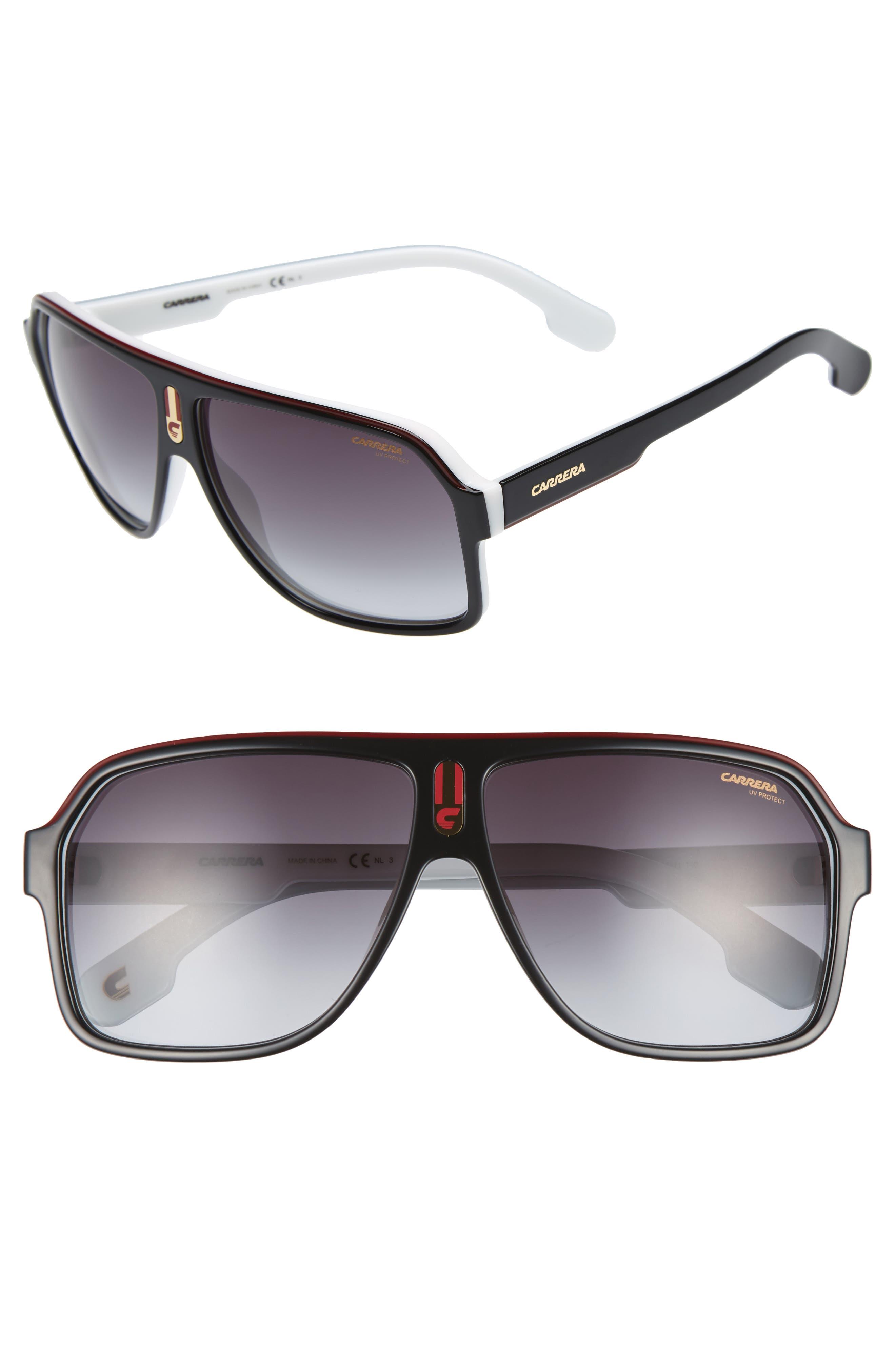 1001/S 62mm Sunglasses,                         Main,                         color, BLACK WHITE