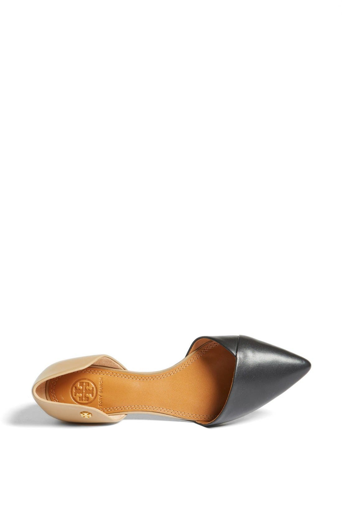 TORY BURCH,                             Leather Flat,                             Alternate thumbnail 4, color,                             008