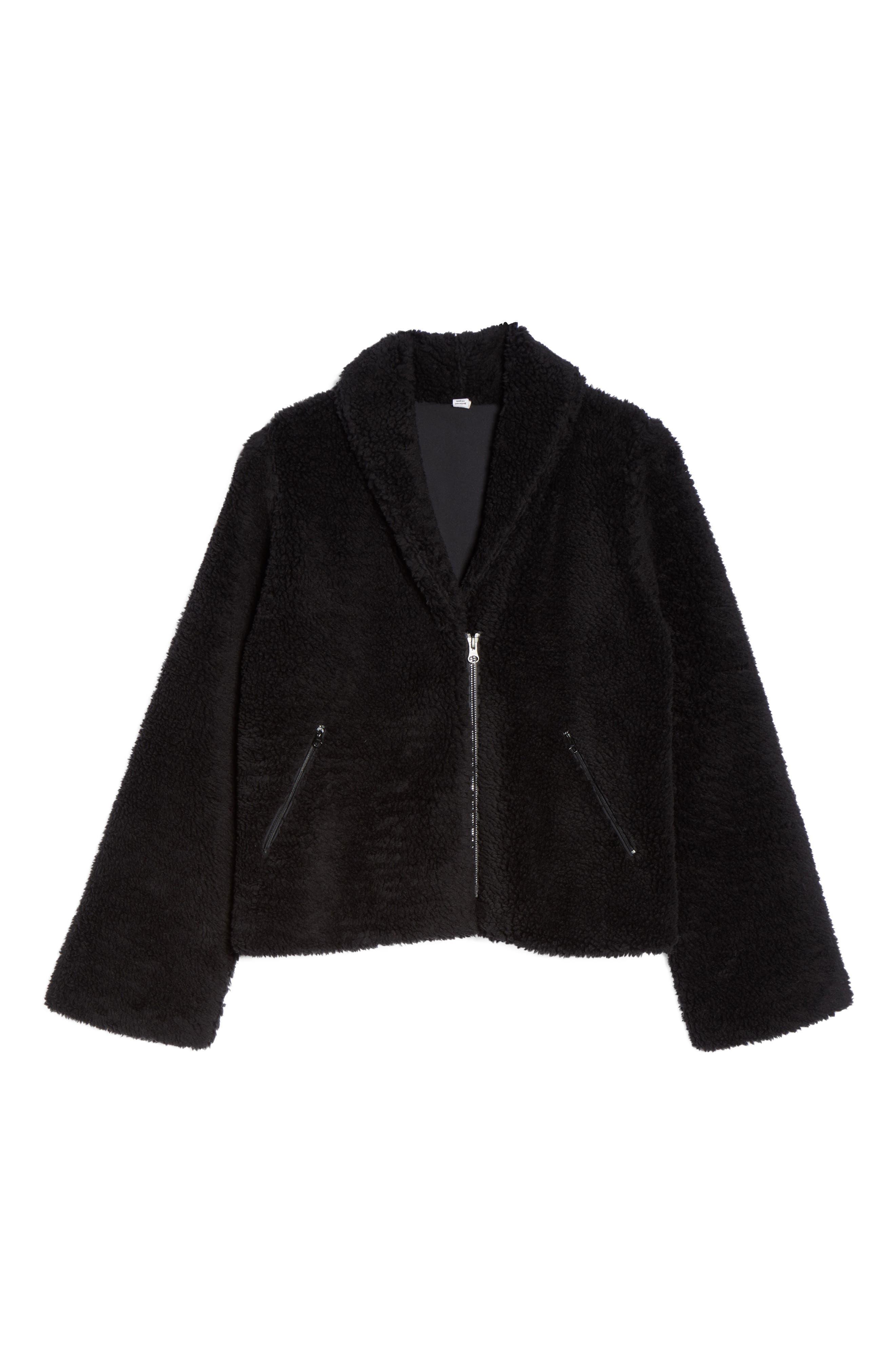 Cozy Up Faux Fur Crop Jacket,                             Alternate thumbnail 7, color,                             BLACK