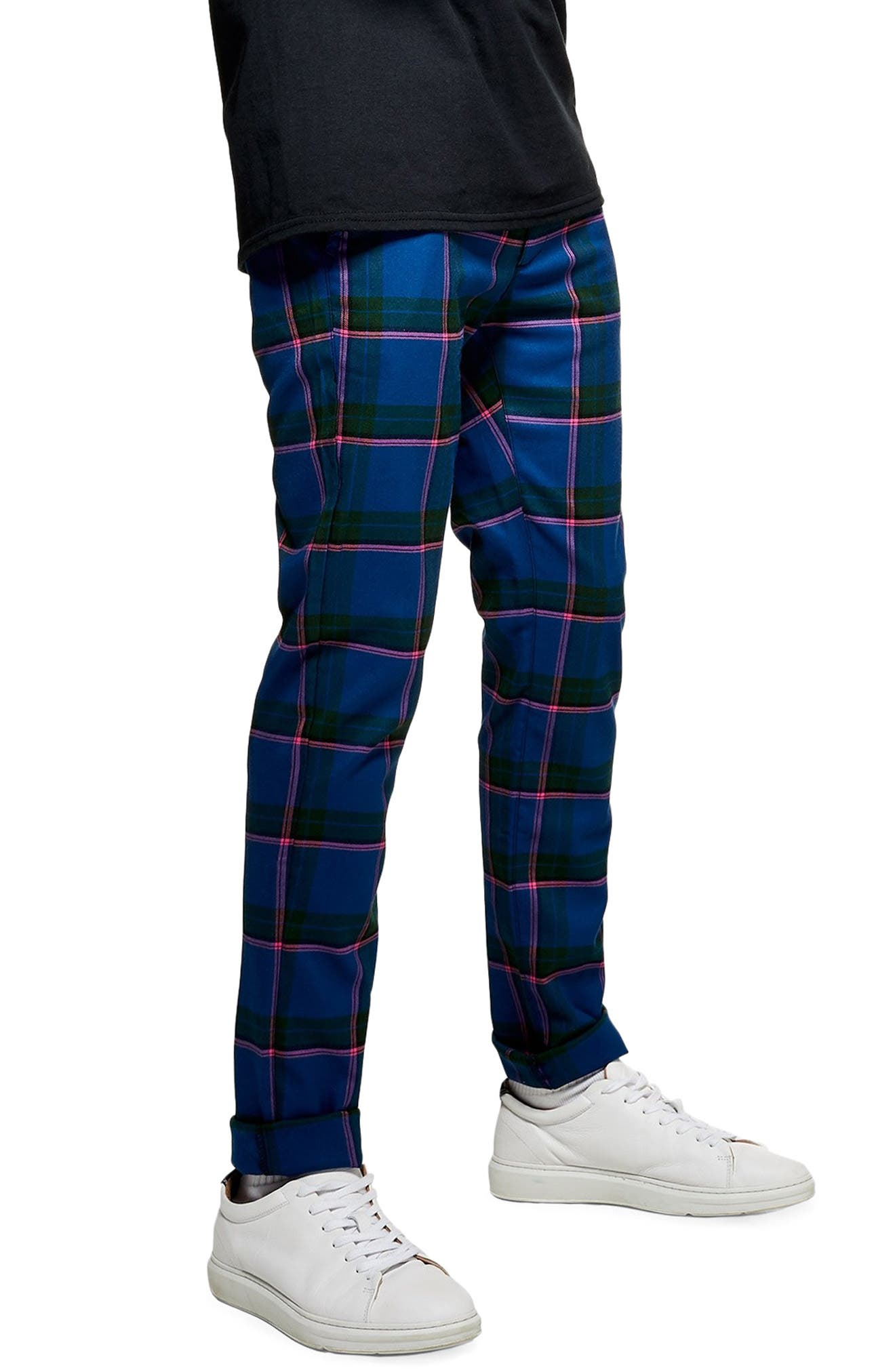 Mitchell Check Print Skinny Pants,                             Alternate thumbnail 3, color,                             400