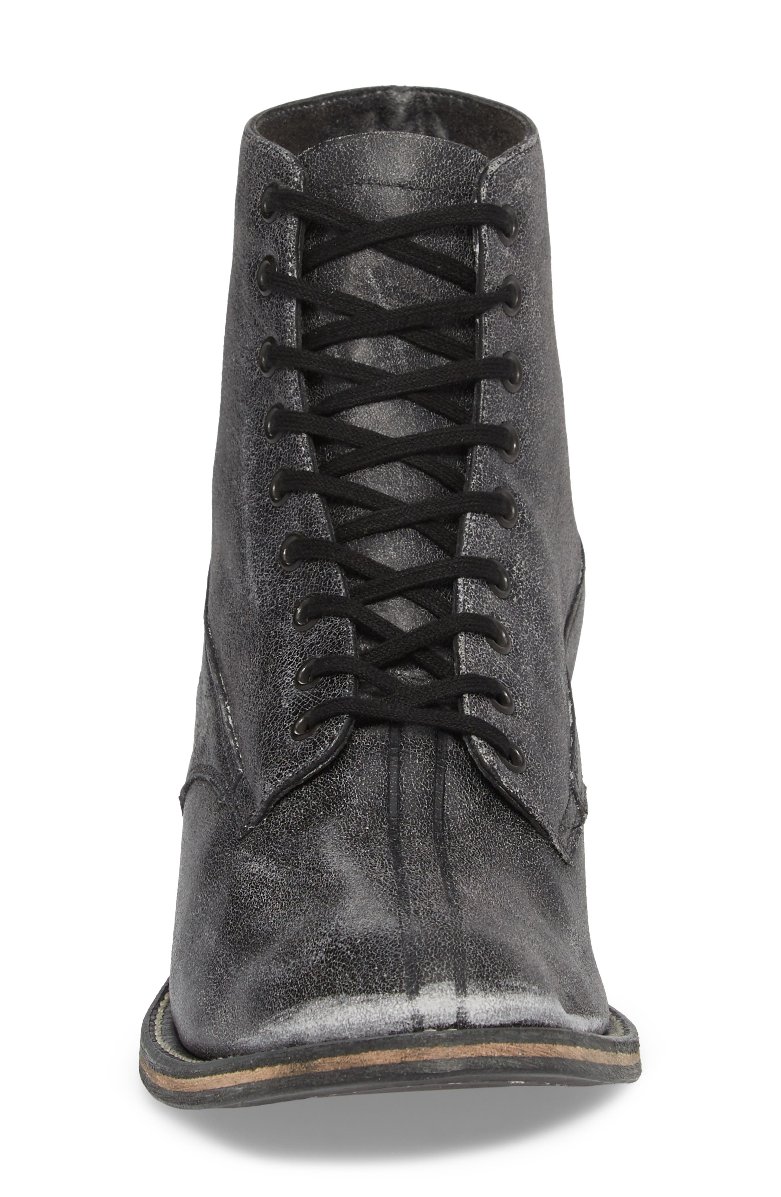 Boxcar Lace-Up Boot,                             Alternate thumbnail 4, color,                             BLACK