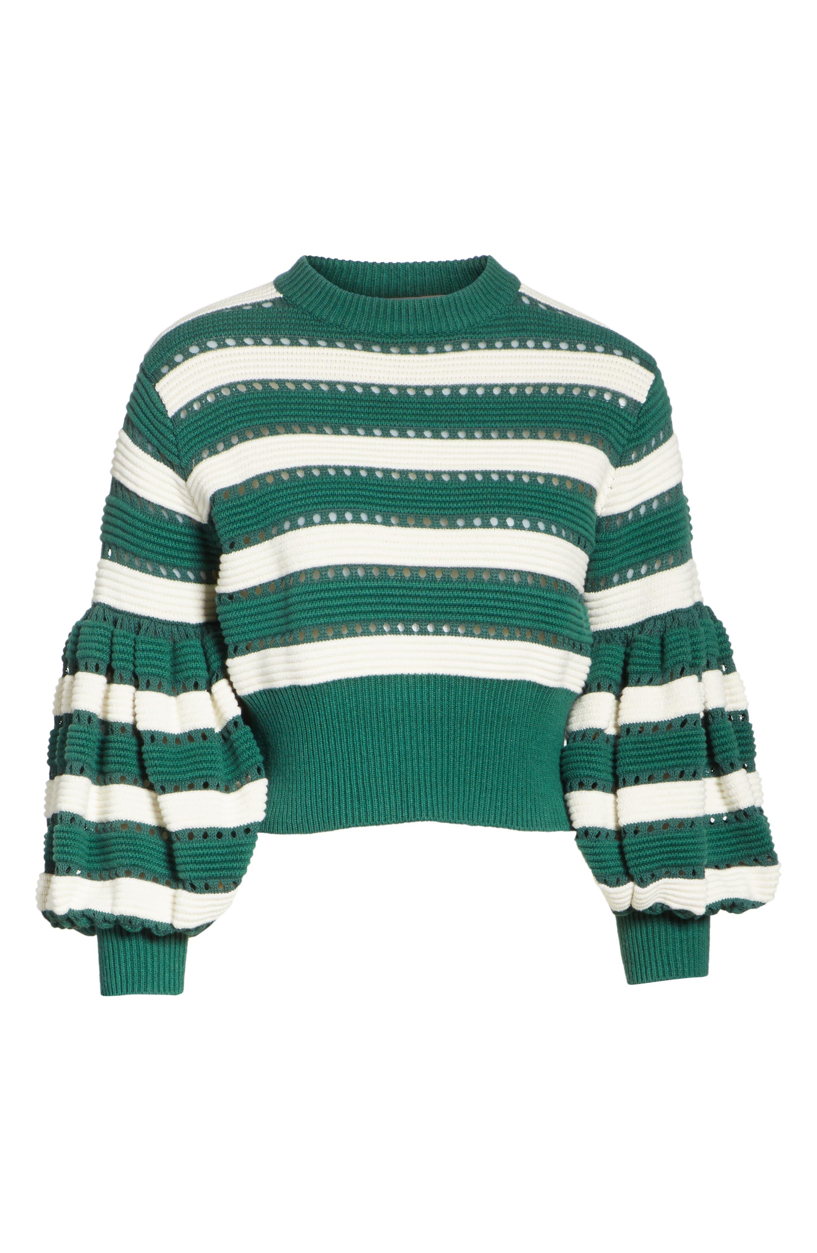 Puff Sleeve Cotton & Wool Crop Sweater,                             Alternate thumbnail 6, color,                             GREEN-CREAM