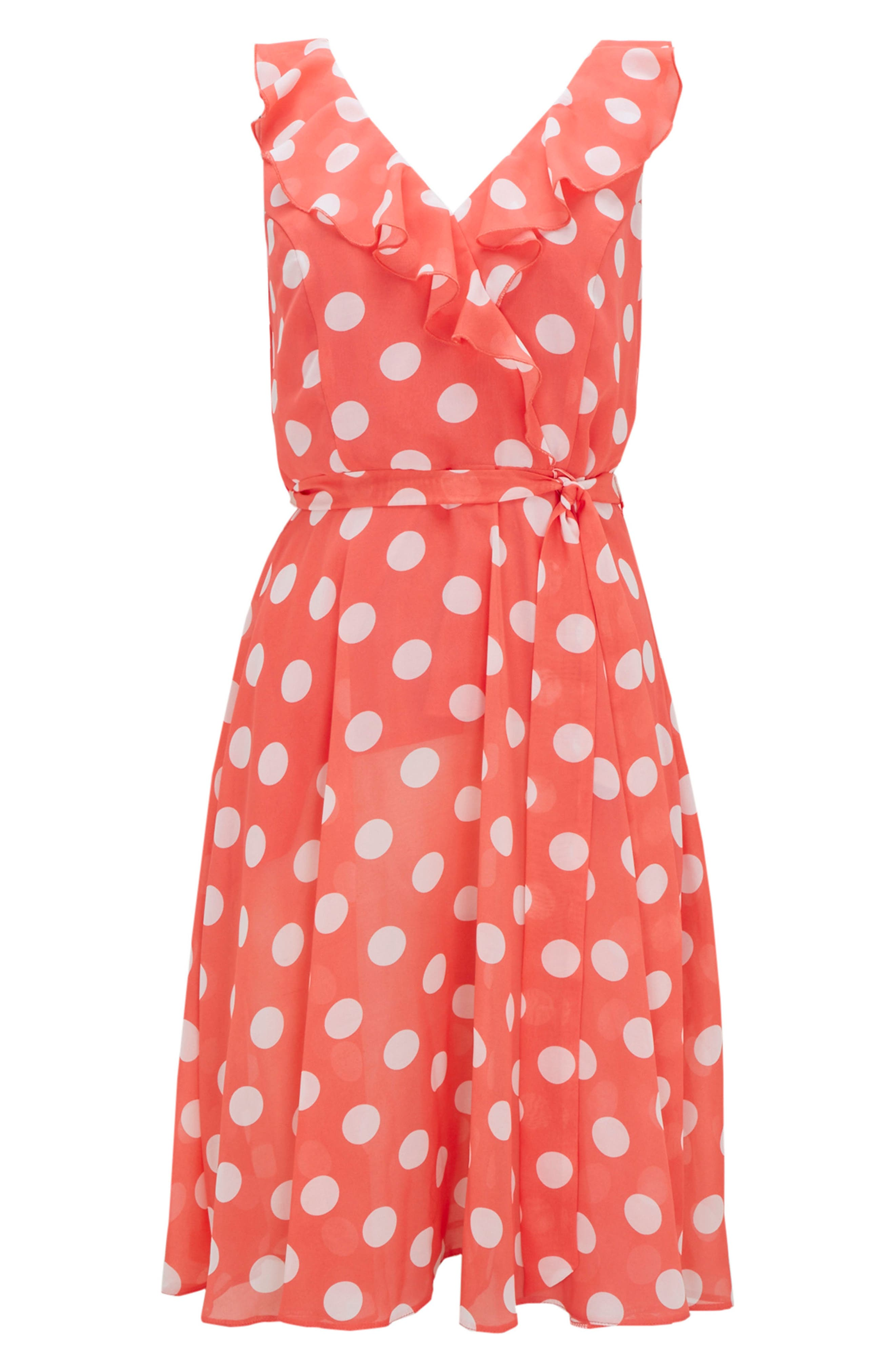 Ruffle Spot Fit & Flare Dress,                             Alternate thumbnail 4, color,                             CORAL