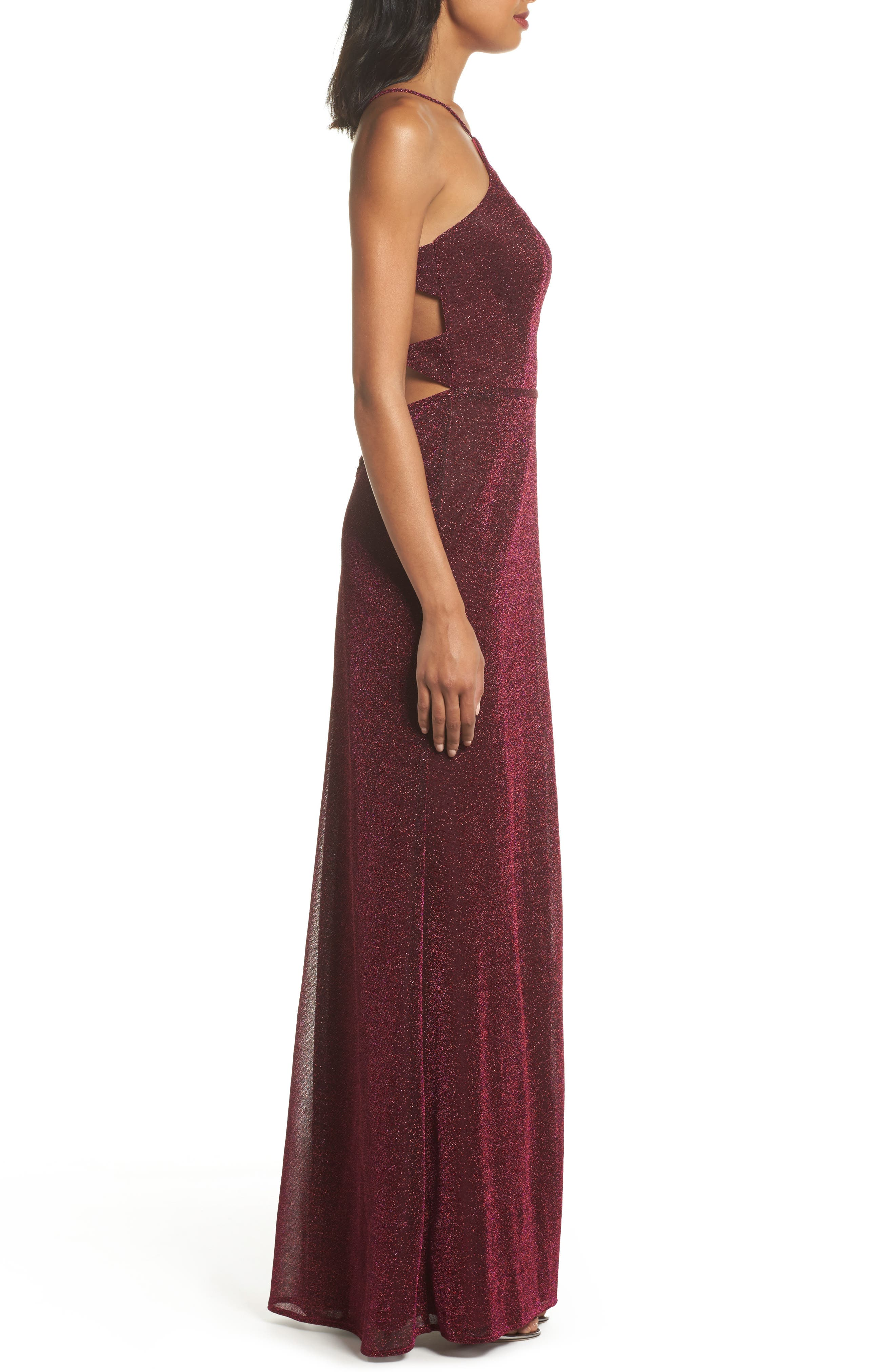 Sparkle Sheath Gown,                             Alternate thumbnail 3, color,                             FUCHSIA/ MULTI