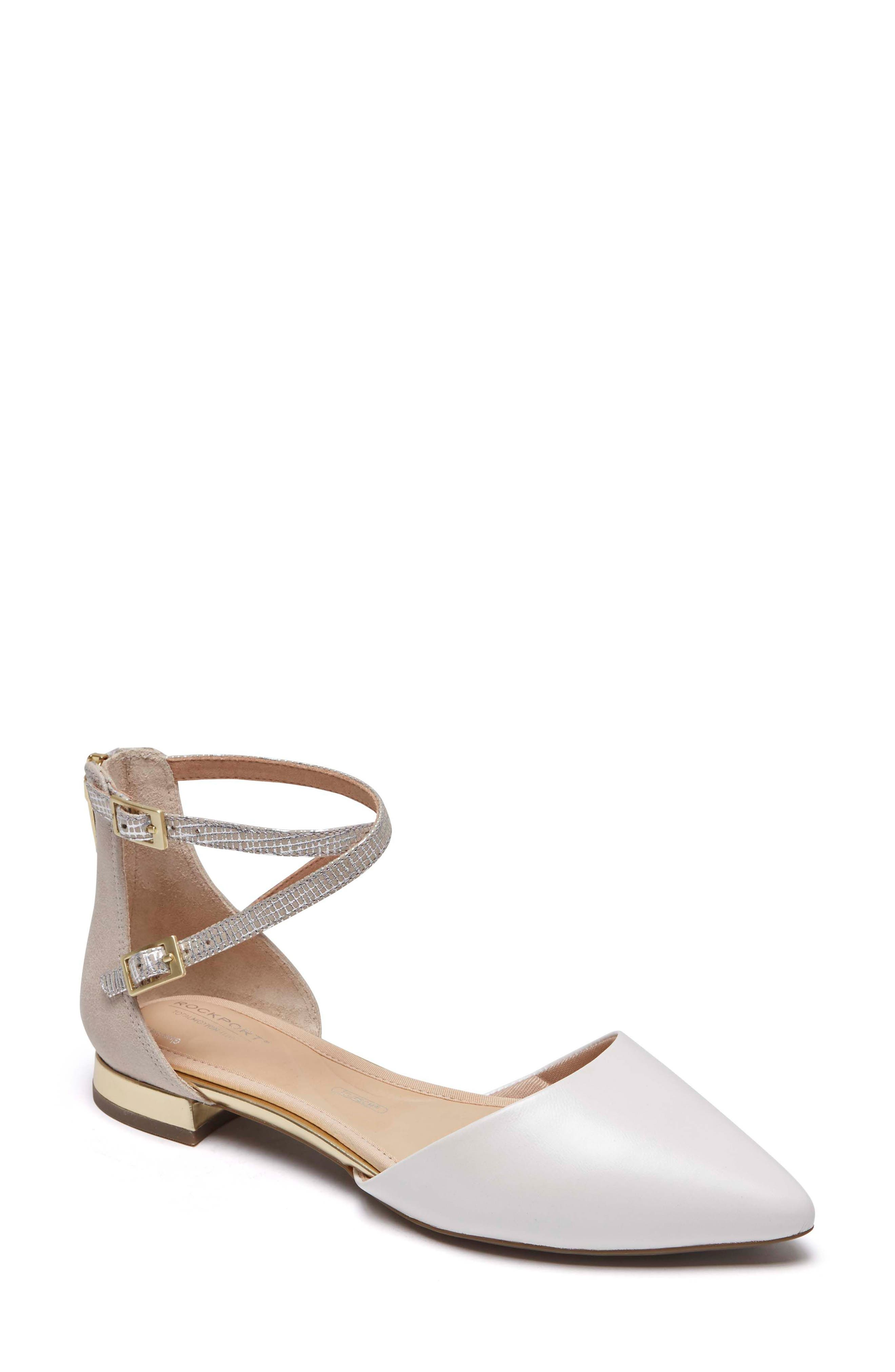 Total Motion<sup>®</sup> Zuly Luxe Ankle Strap Flat,                             Main thumbnail 1, color,                             WHITE LEATHER