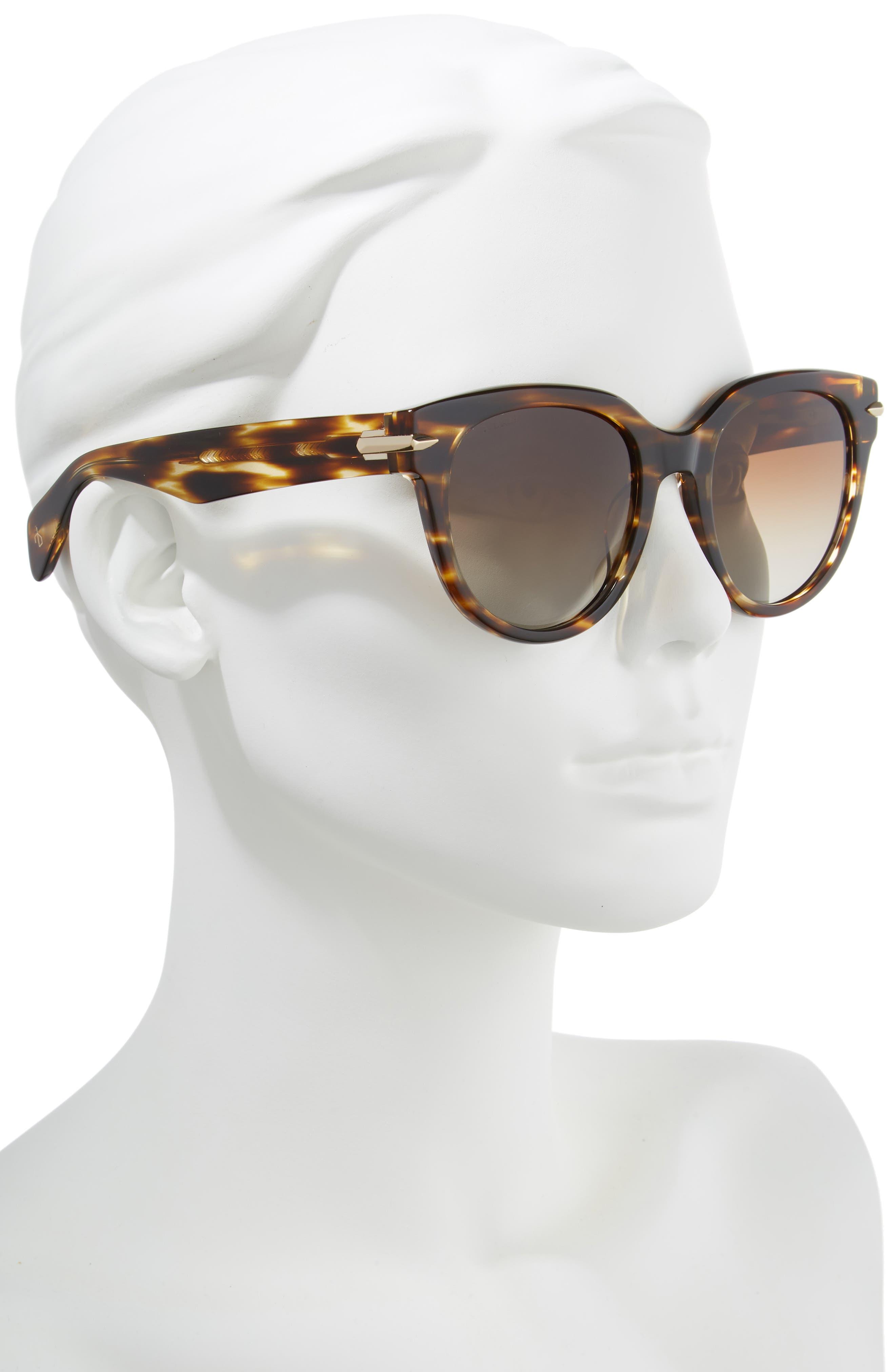 54mm Round Sunglasses,                             Alternate thumbnail 2, color,                             DARK HAVANA