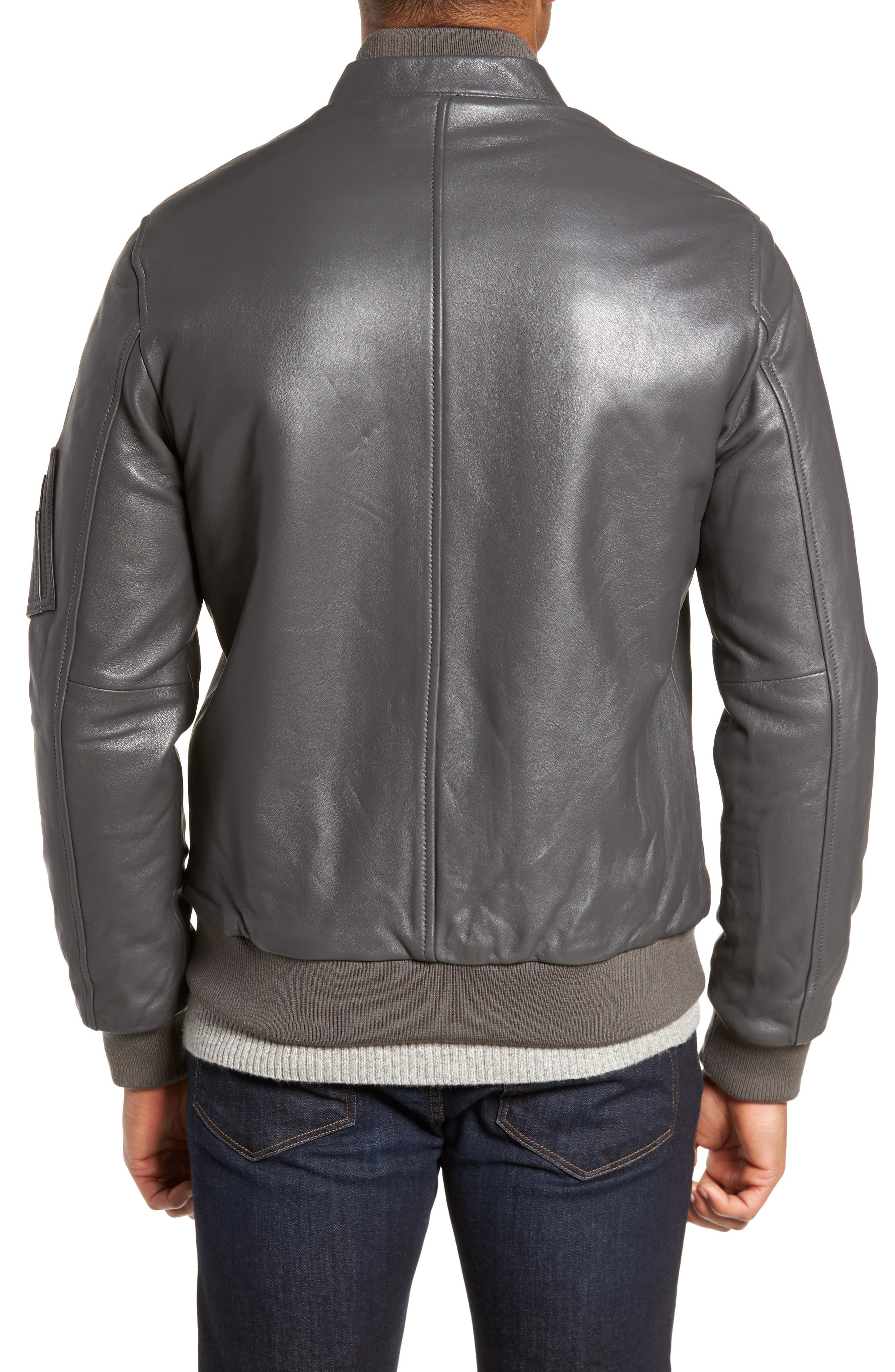 Leather Bomber Jacket,                             Alternate thumbnail 2, color,                             020