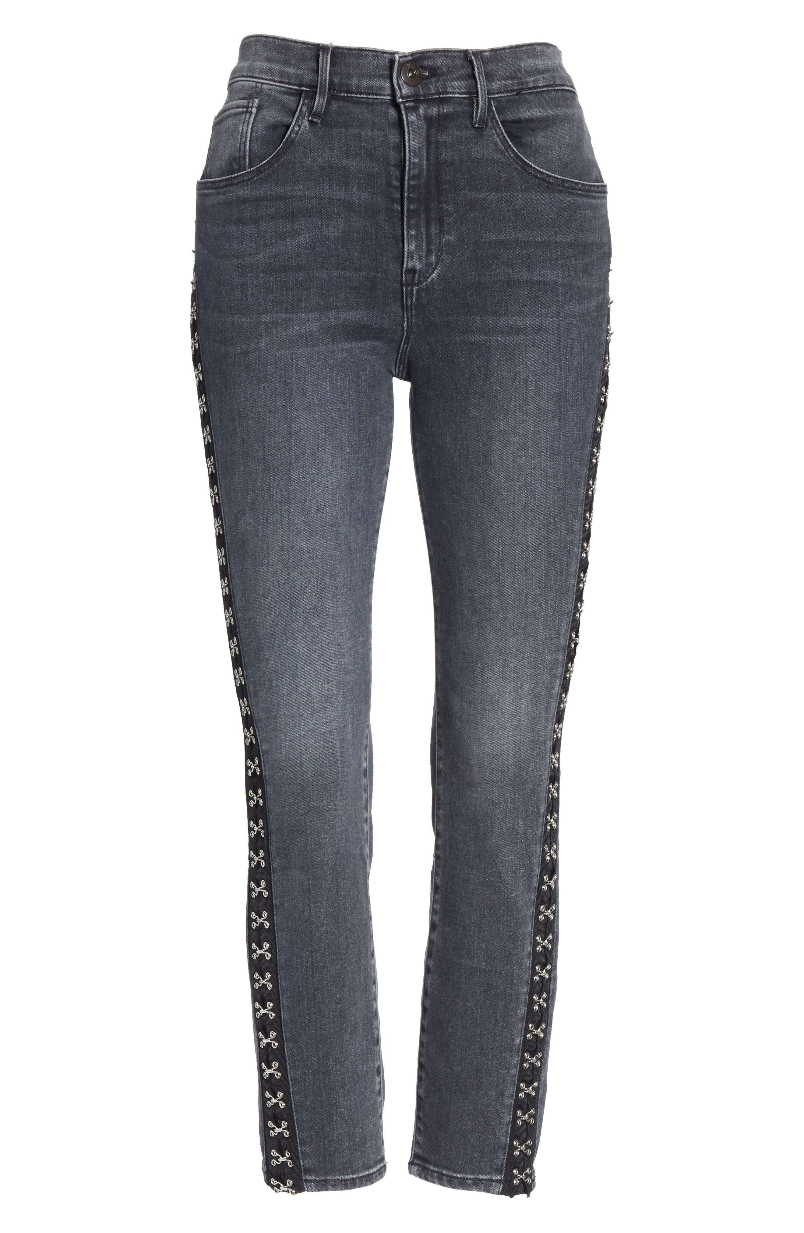 Corset Detail Ankle Skinny Jeans,                             Alternate thumbnail 6, color,                             EDDA
