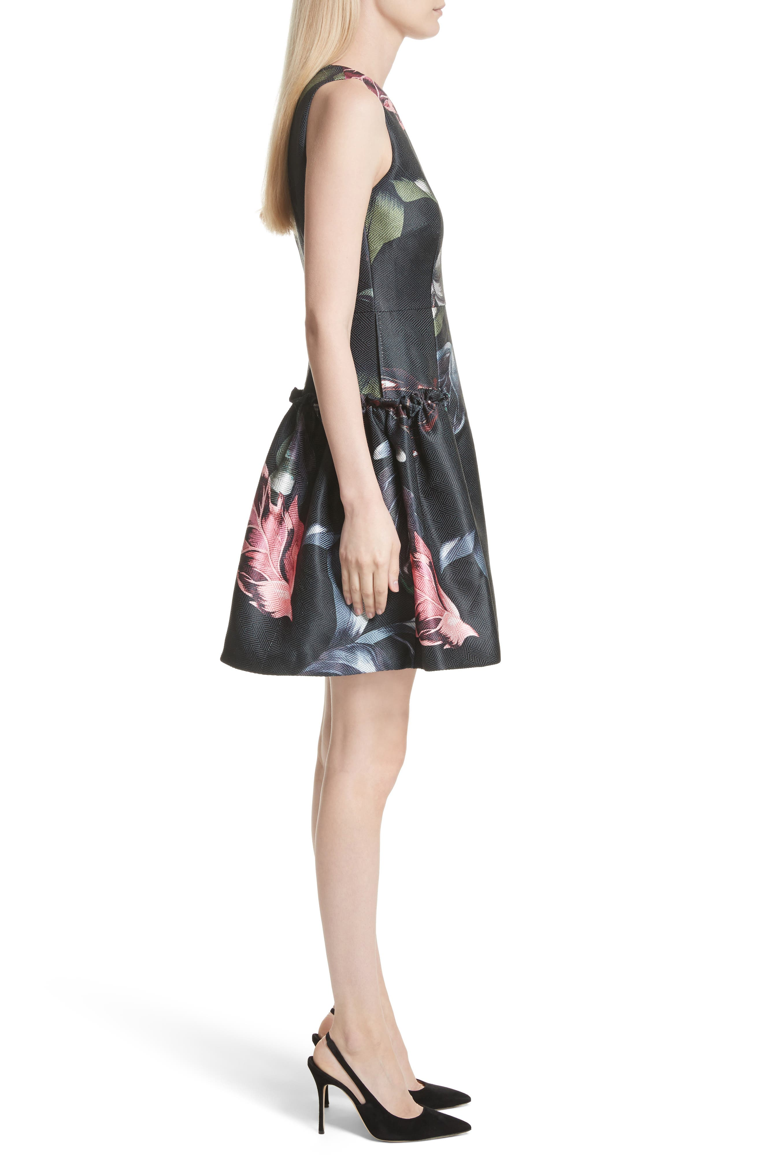 Sarahe Floral Fit & Flare Dress,                             Alternate thumbnail 3, color,                             001