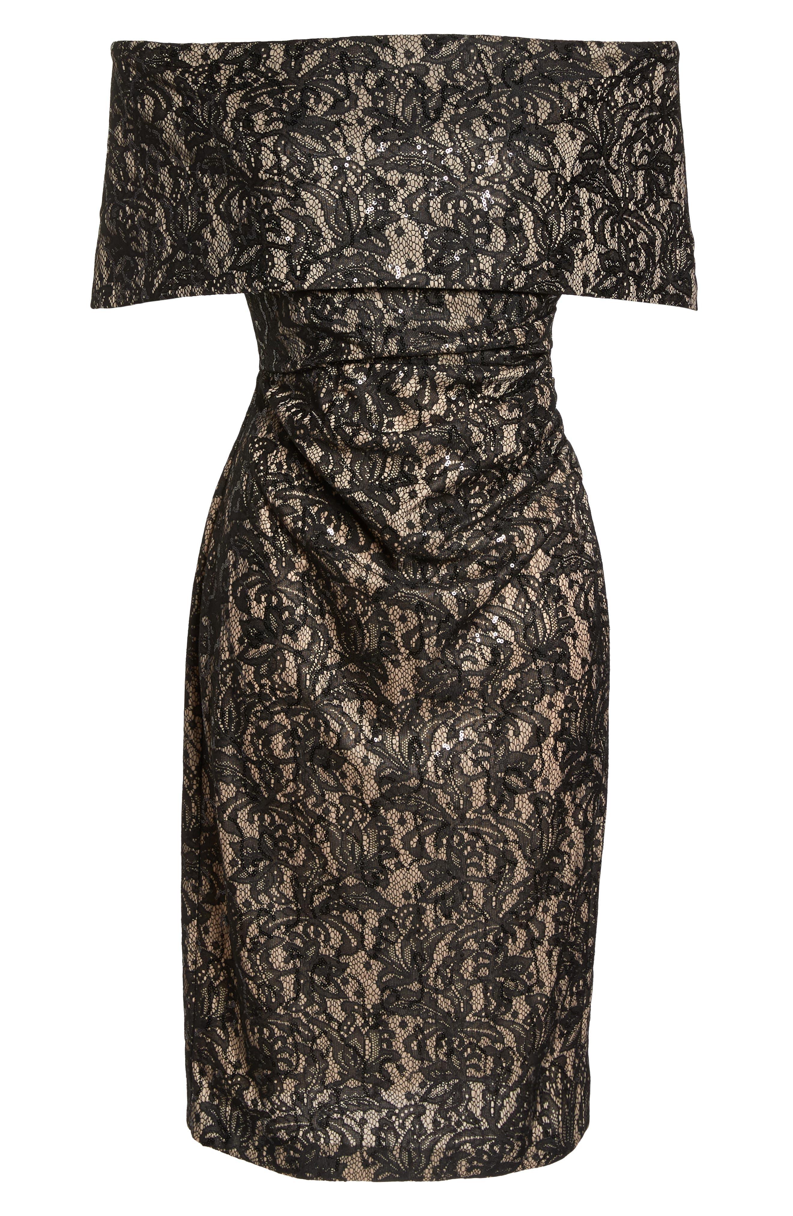 Off the Shoulder Lace Sheath Dress,                             Alternate thumbnail 7, color,                             BLACK TAN