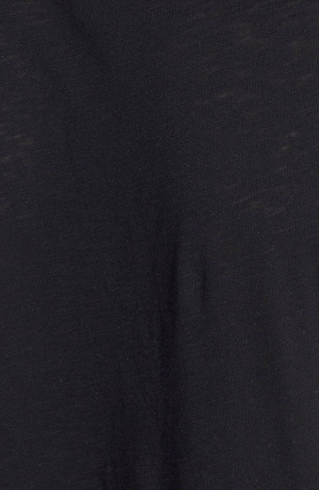 Knot Detail Slub Knit Tee,                             Alternate thumbnail 3, color,                             001
