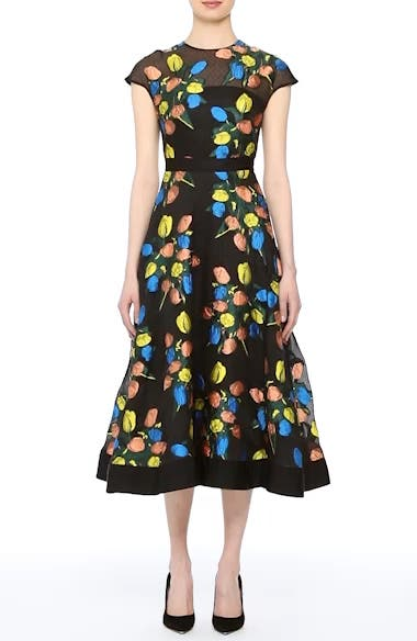 Alternate Video 7  - Lela Rose Tulip Embroidered Fit & Flare Dress