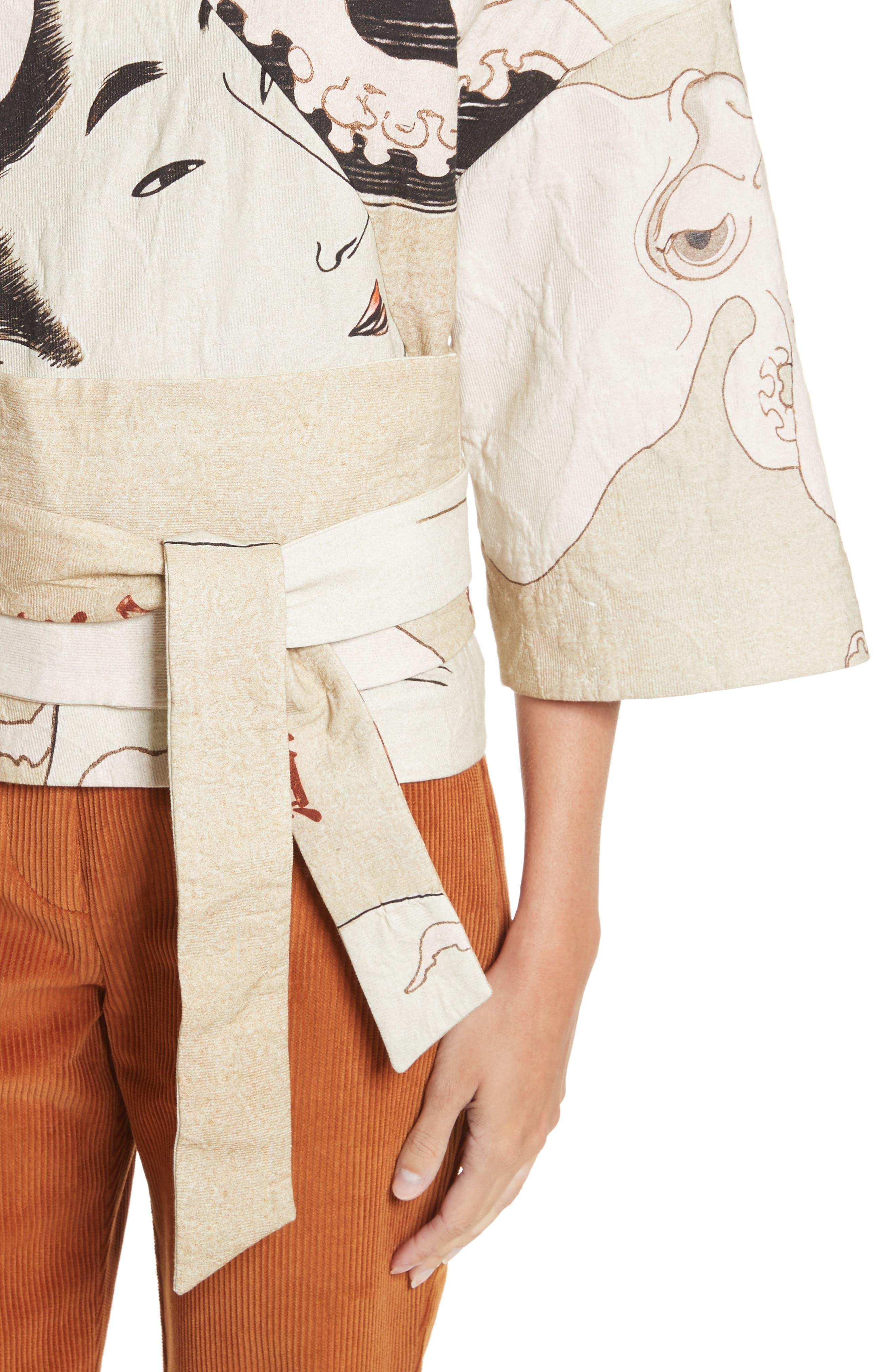 Printed Kimono Bomber Jacket,                             Alternate thumbnail 4, color,                             250