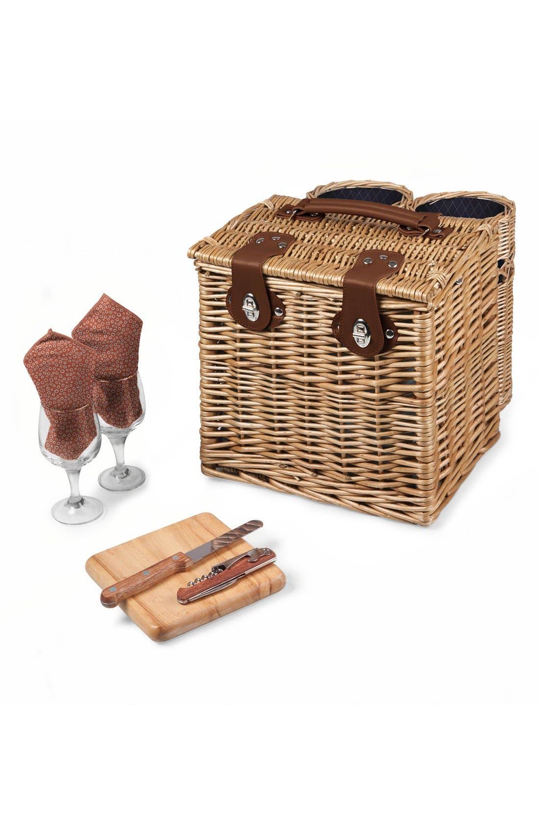 'Vino' Wine & Cheese Picnic Basket,                             Main thumbnail 1, color,                             400