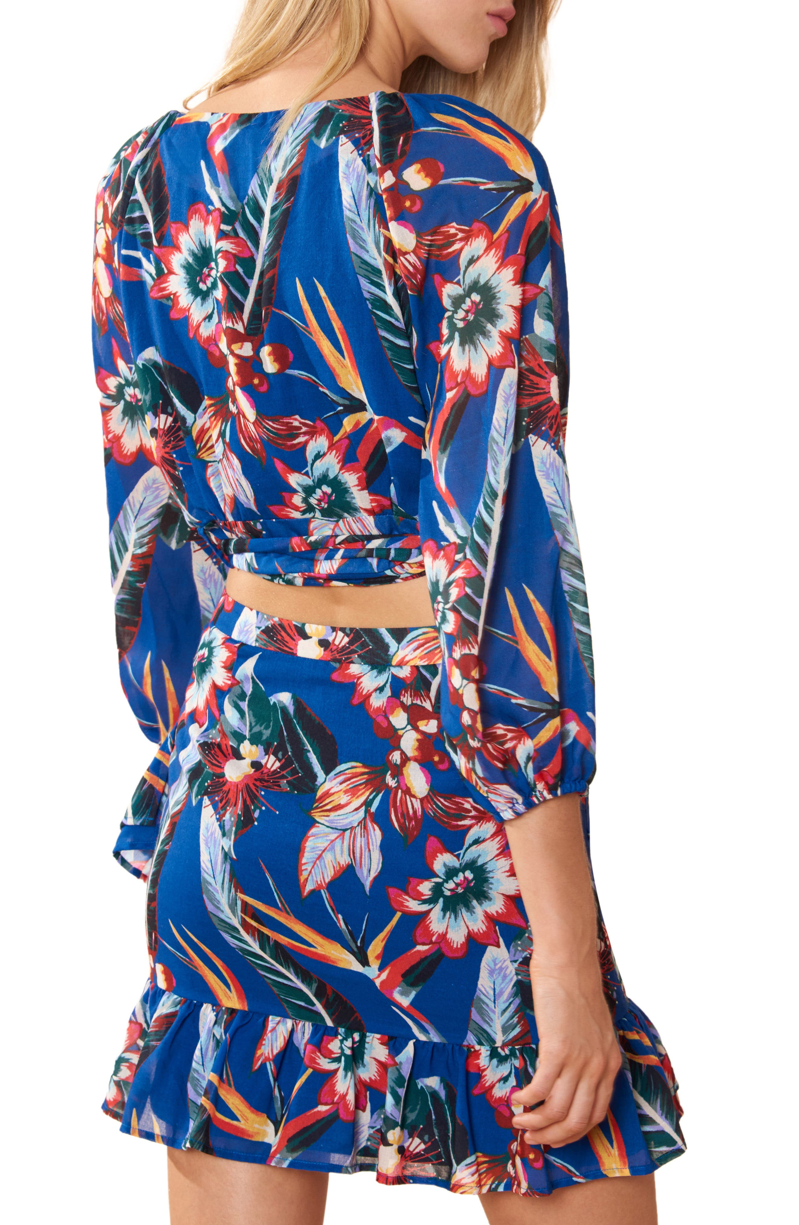 Cropped Cover-Up Wrap Top,                             Alternate thumbnail 2, color,                             PRINT