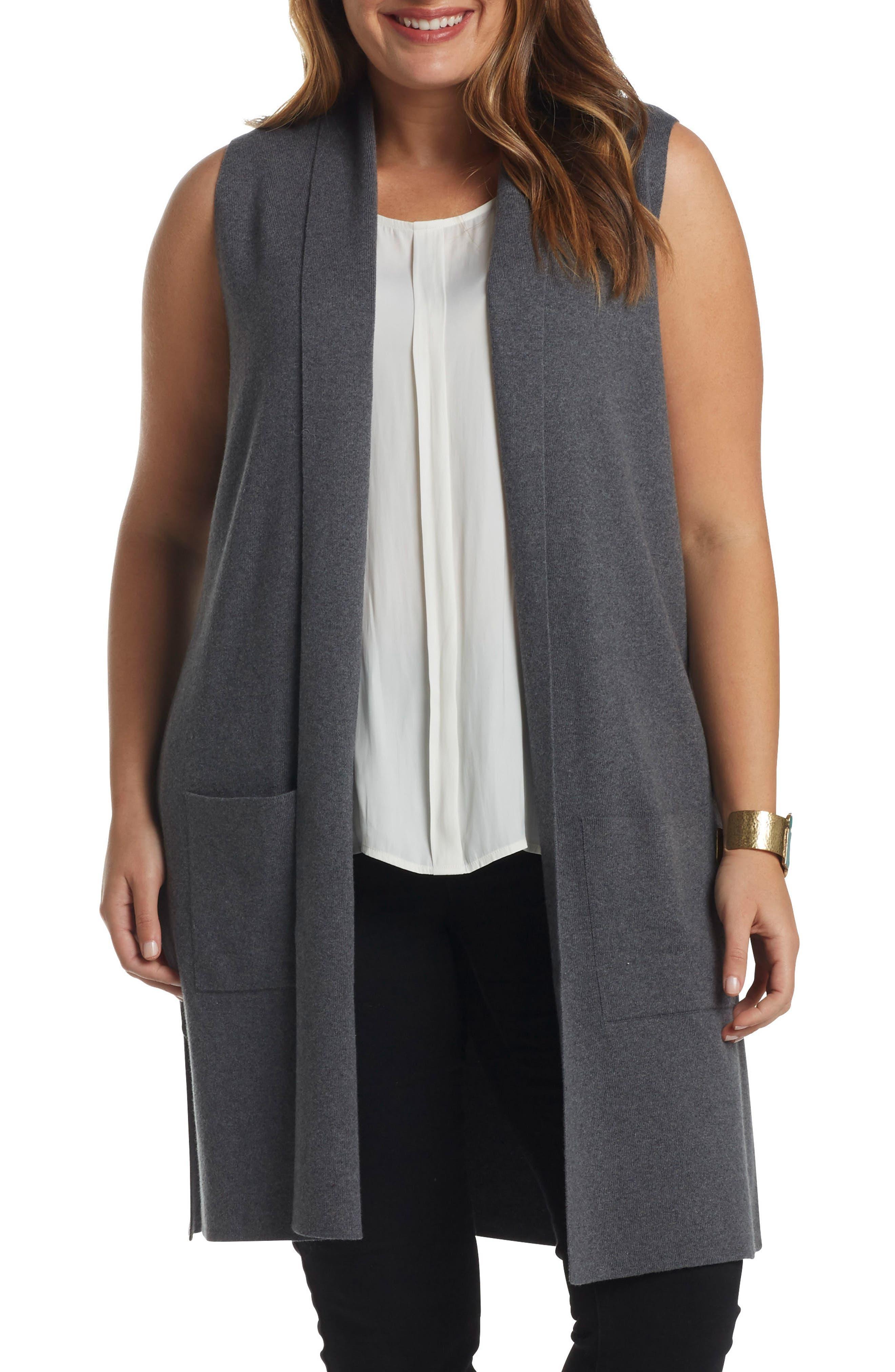 Melva Cotton & Cashmere Open Front Sweater Vest,                             Alternate thumbnail 2, color,                             023