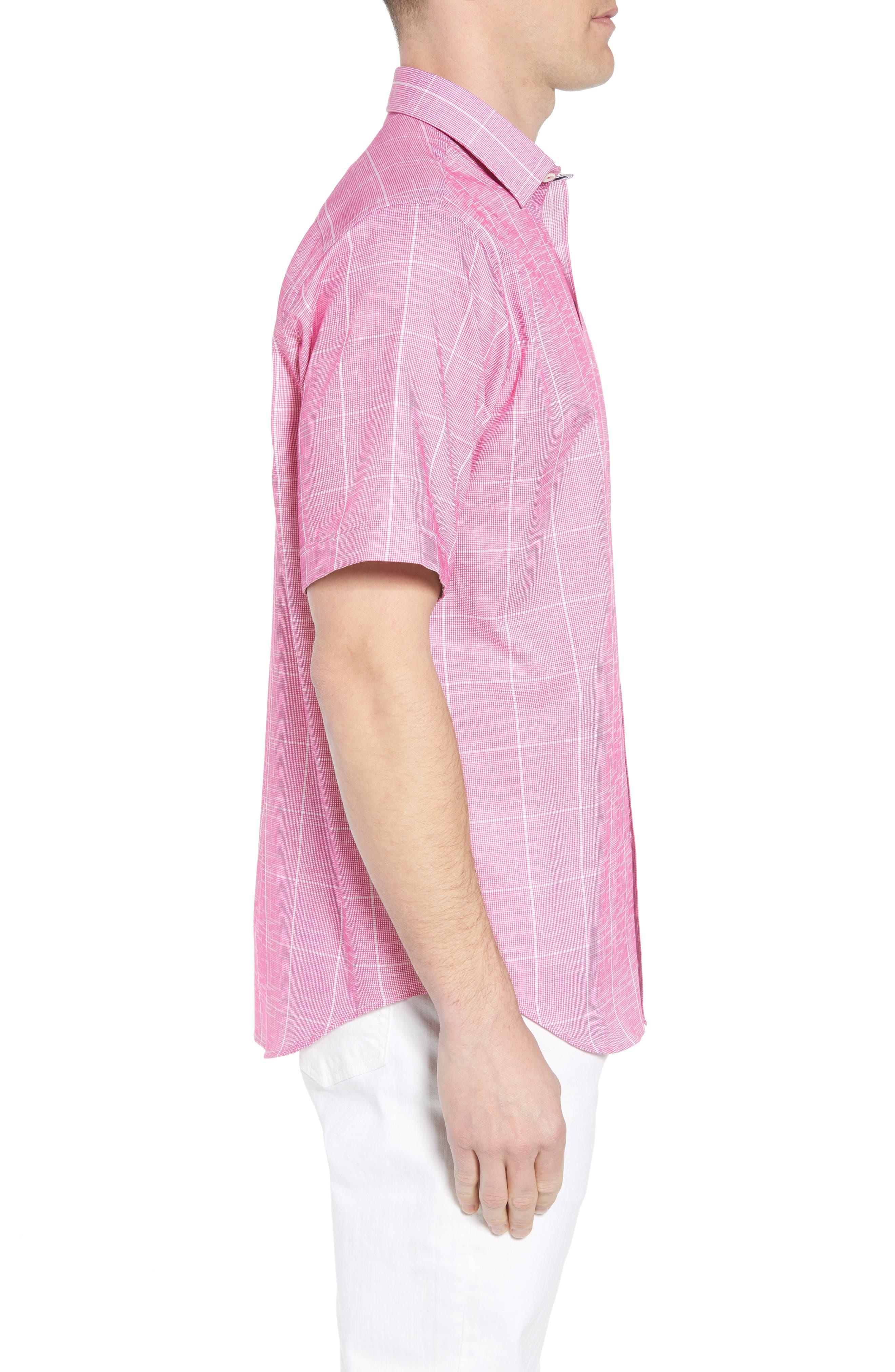 Classic Fit Check Sport Shirt,                             Alternate thumbnail 3, color,                             BERRY