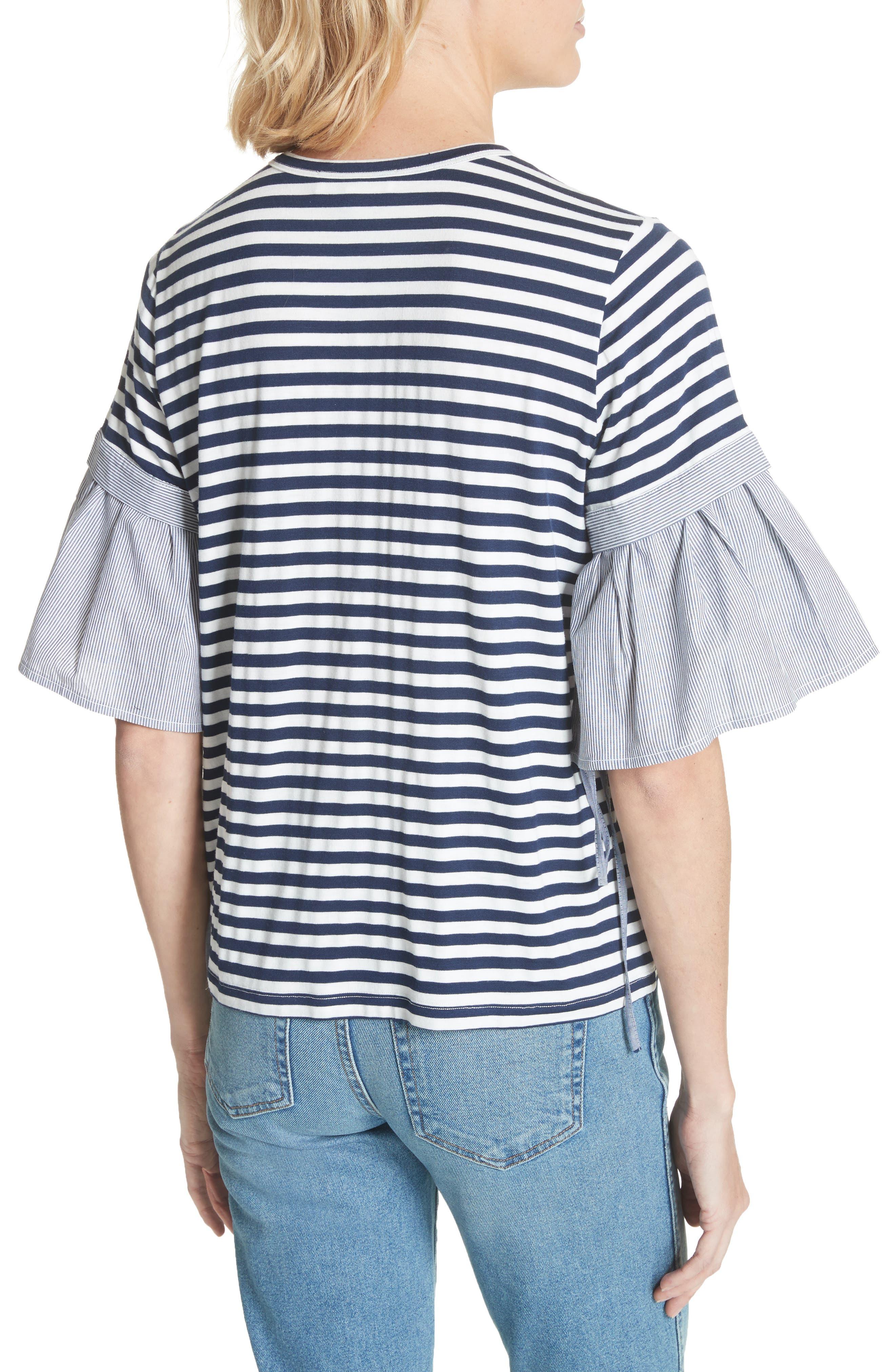 CLU,                             Ruffle Sleeve Stripe Tee,                             Alternate thumbnail 2, color,                             491