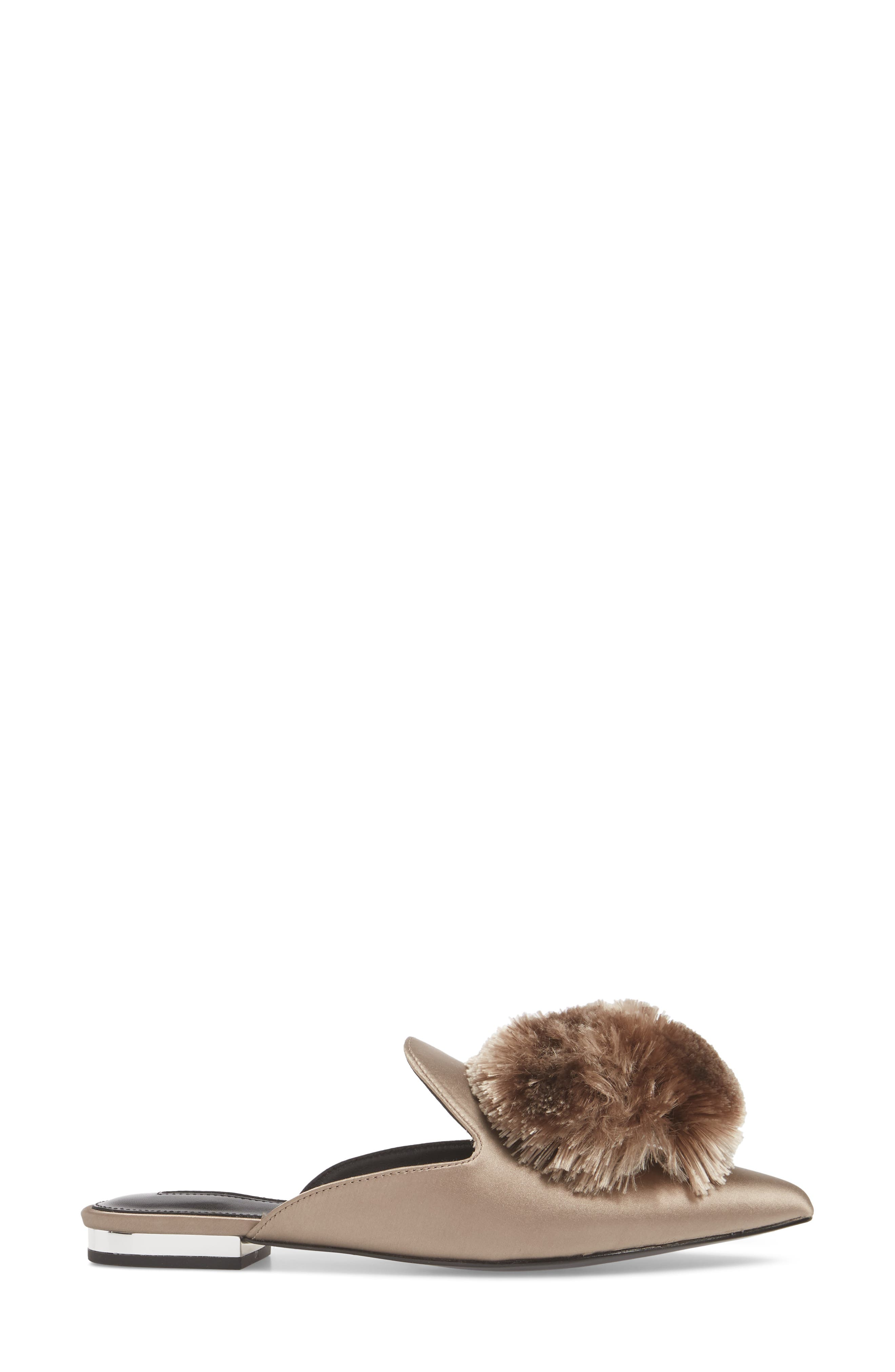 Wella Pompom Loafer Mule,                             Alternate thumbnail 3, color,                             TAUPE SATIN