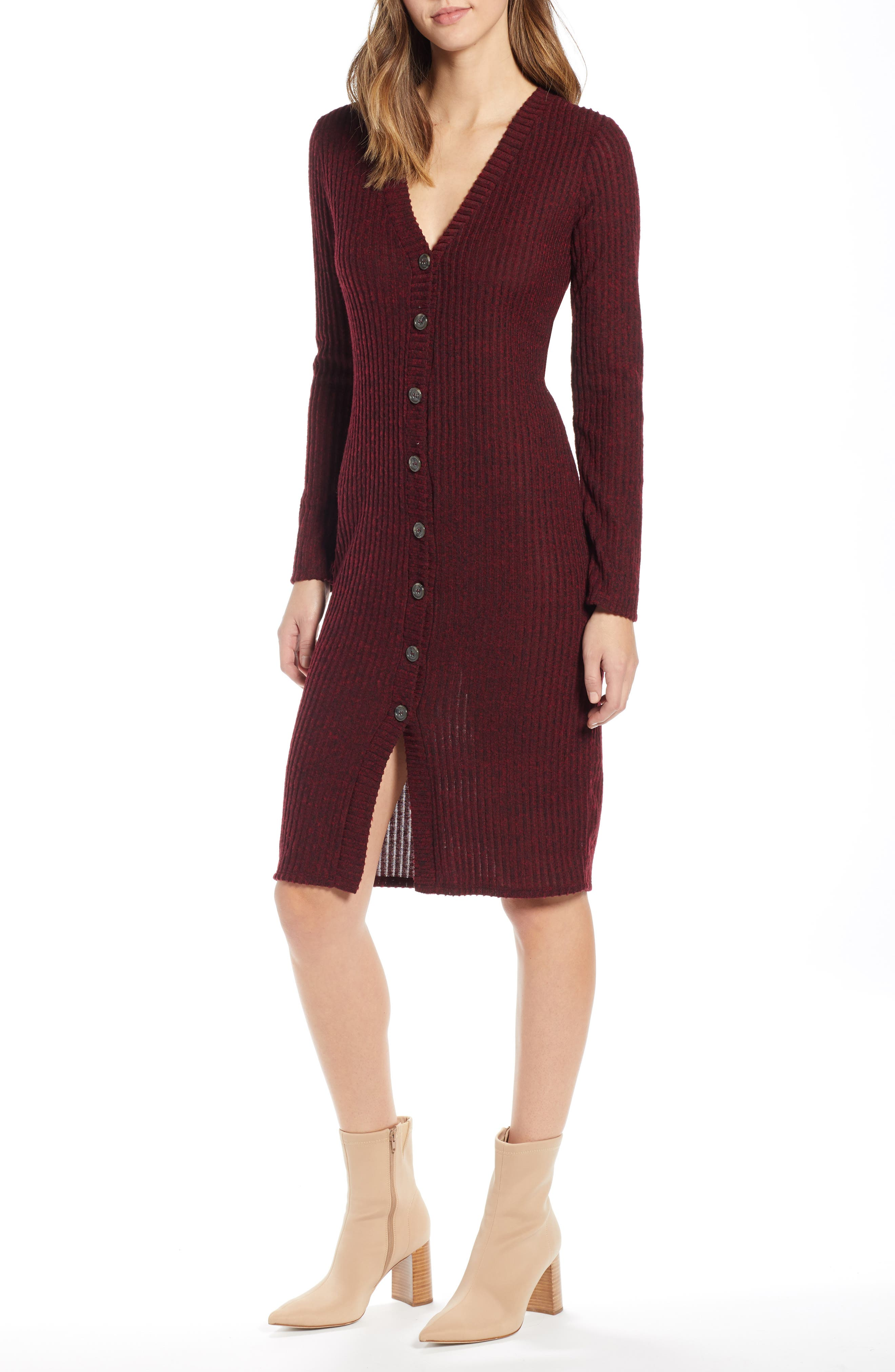 Socialite Sweater Dress, Burgundy