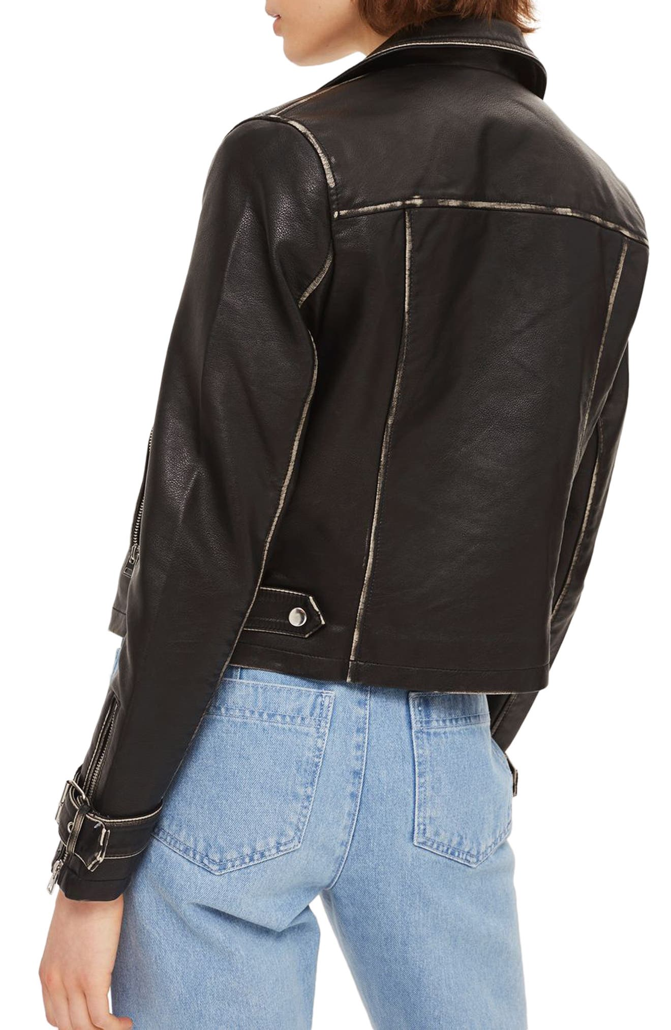 Washed Wolf Zipper Moto Jacket,                             Alternate thumbnail 2, color,                             001