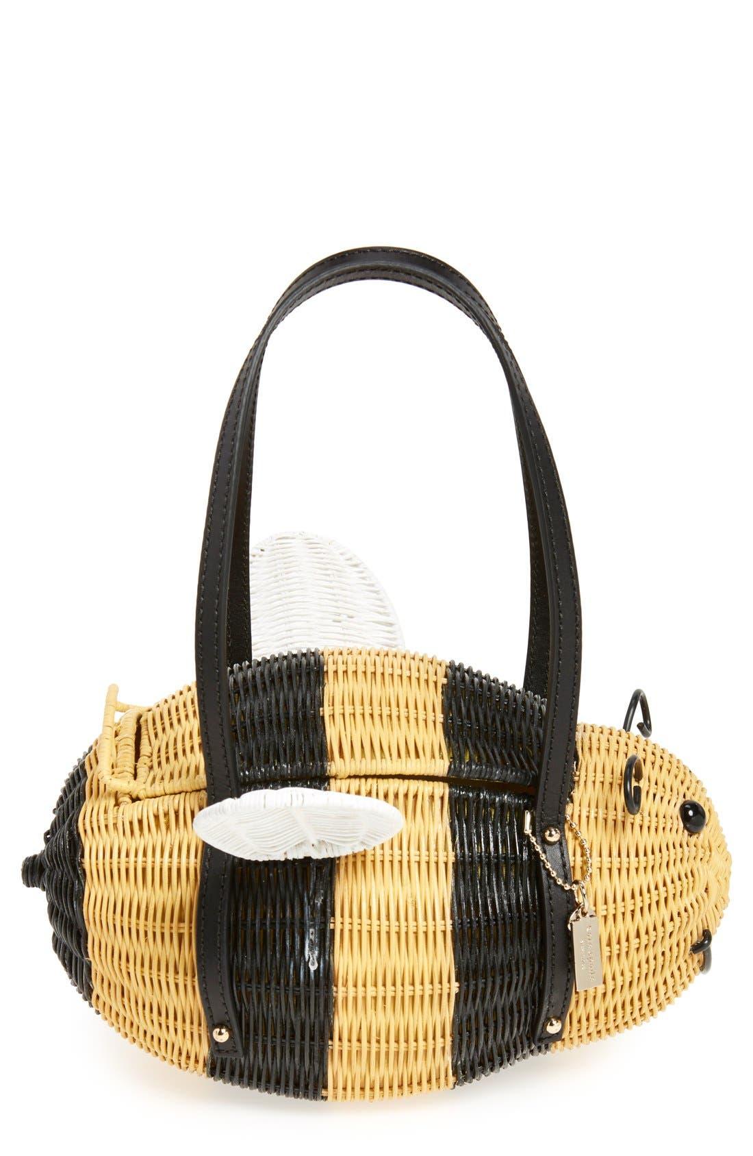 'bee' wicker handbag,                             Alternate thumbnail 6, color,                             250