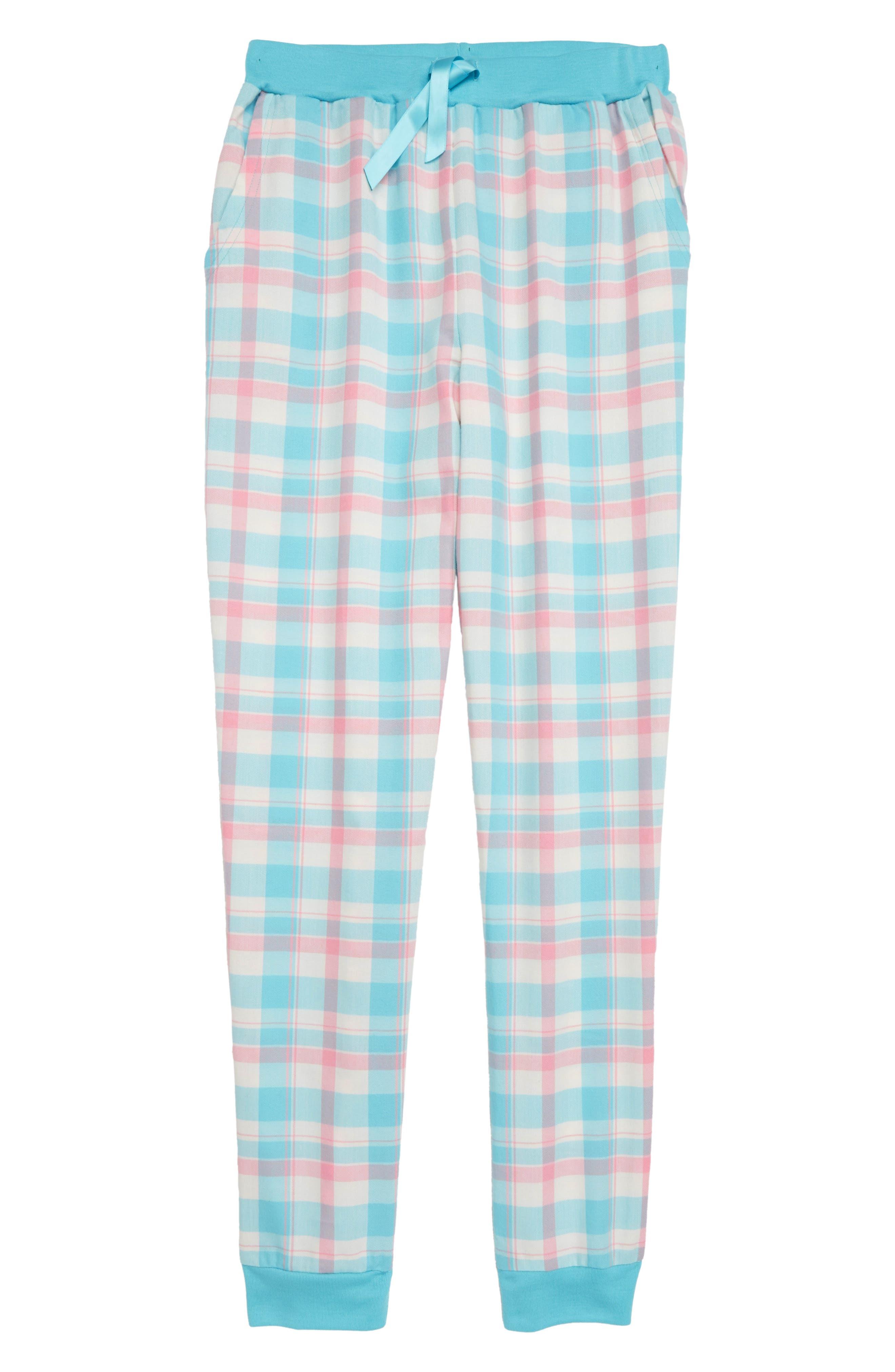 Flannel Pajama Pants,                         Main,                         color, TEAL CAPRI PLAID