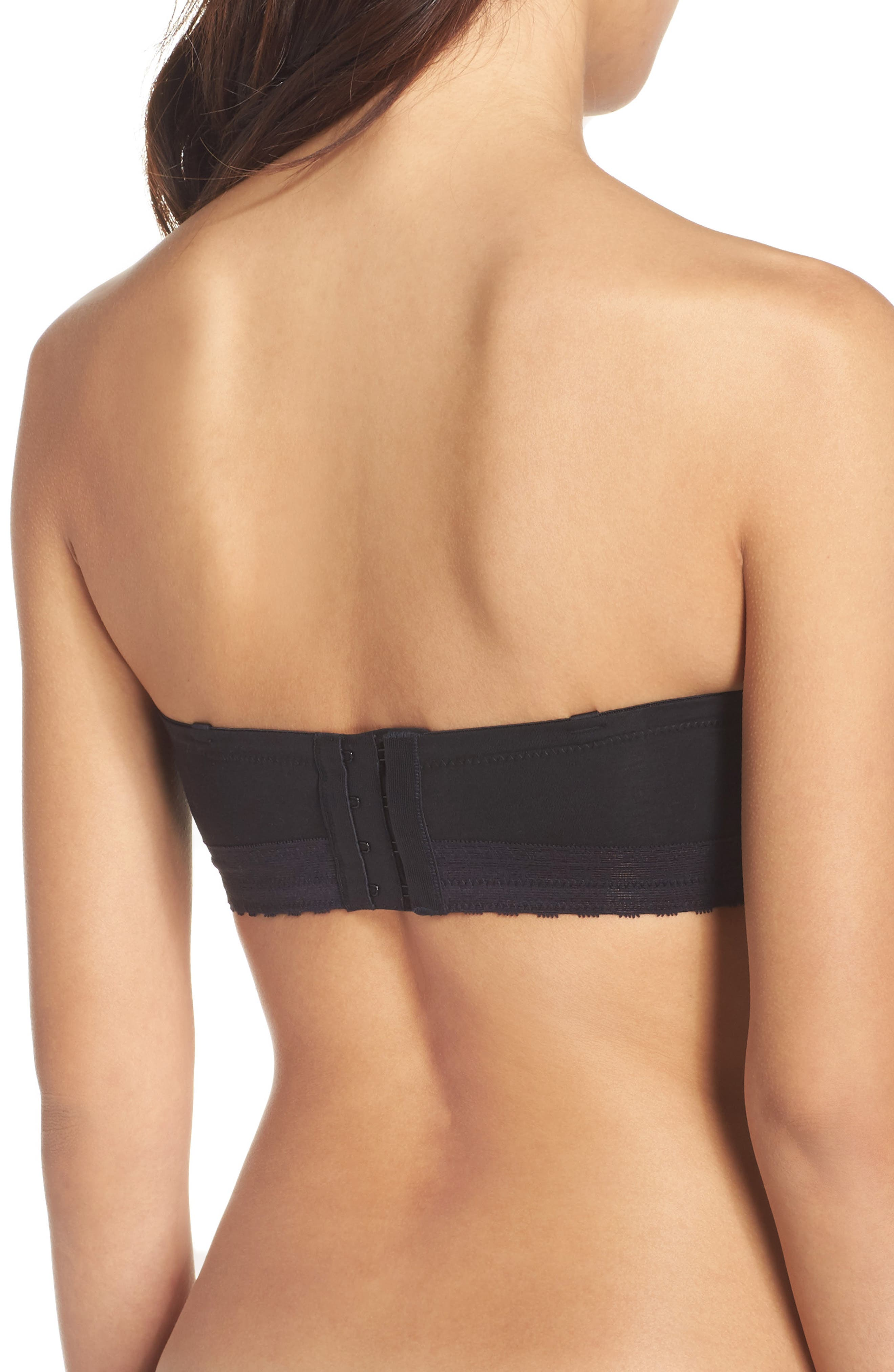 'Truly Smooth' Strapless Underwire Bra,                             Alternate thumbnail 3, color,                             BLACK