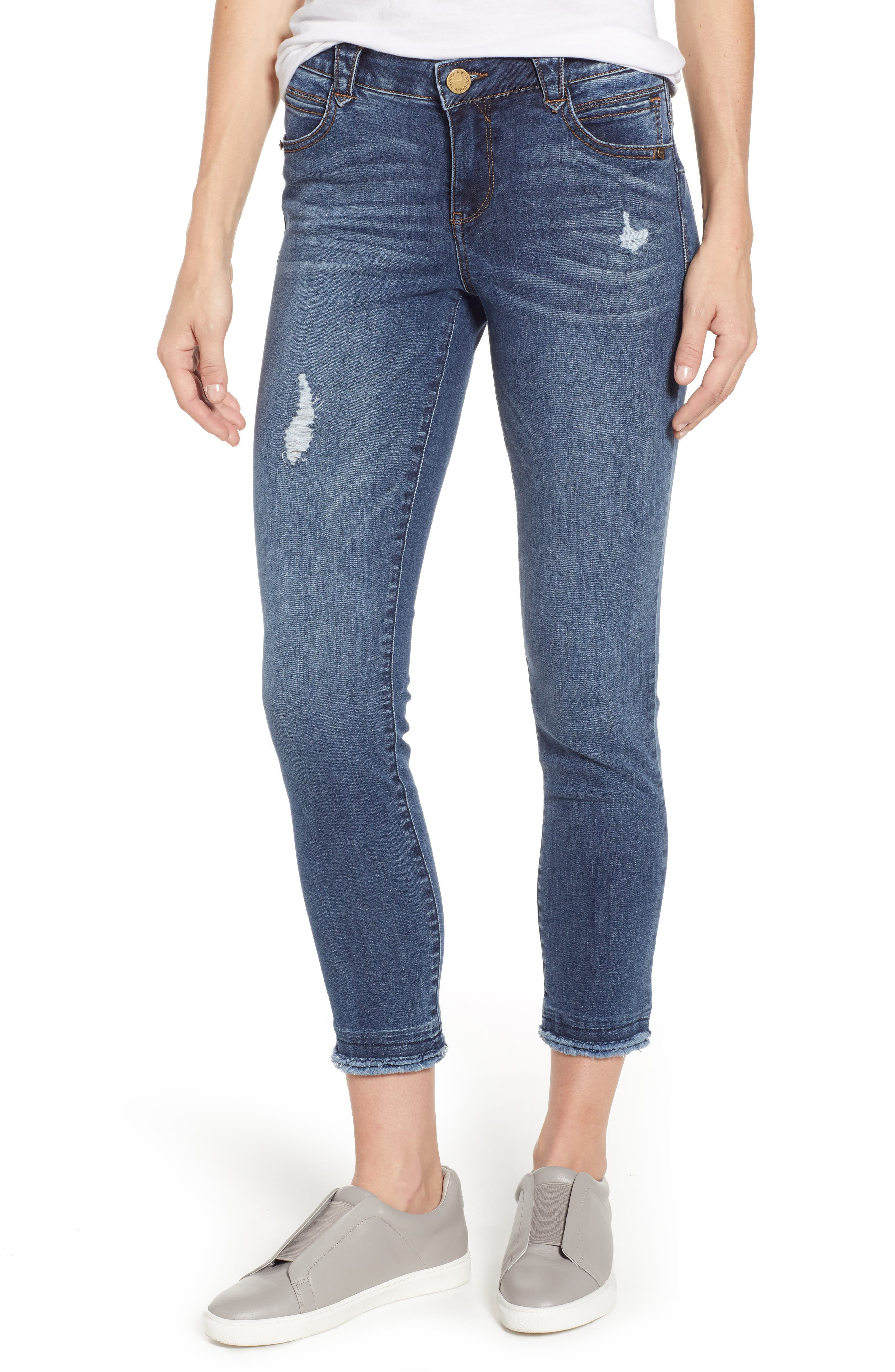 WIT & WISDOM Ab-solution Distressed Skinny Raw Hem Ankle Jeans, Main, color, BLUE