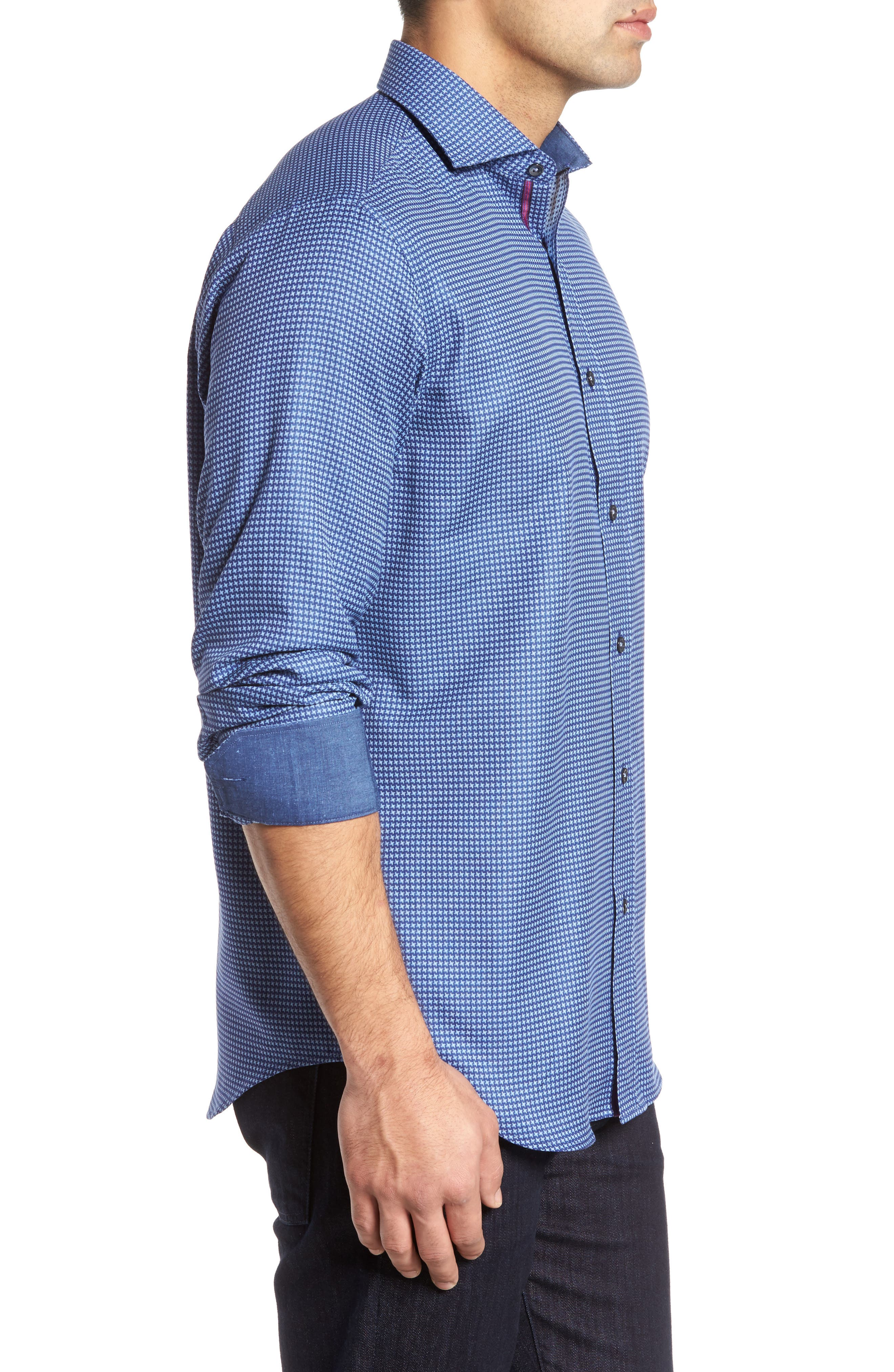 Classic Fit Print Sport Shirt,                             Alternate thumbnail 3, color,                             411