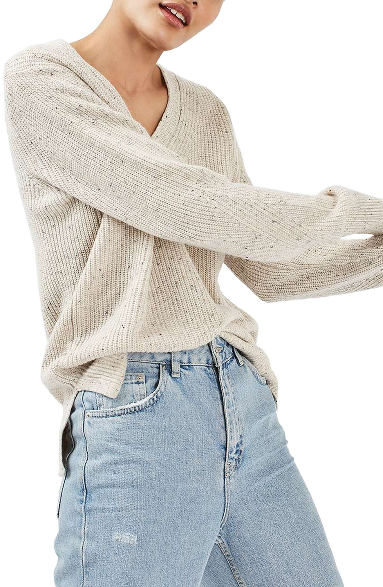 Ribbed V-Neck Sweater,                             Alternate thumbnail 2, color,                             101