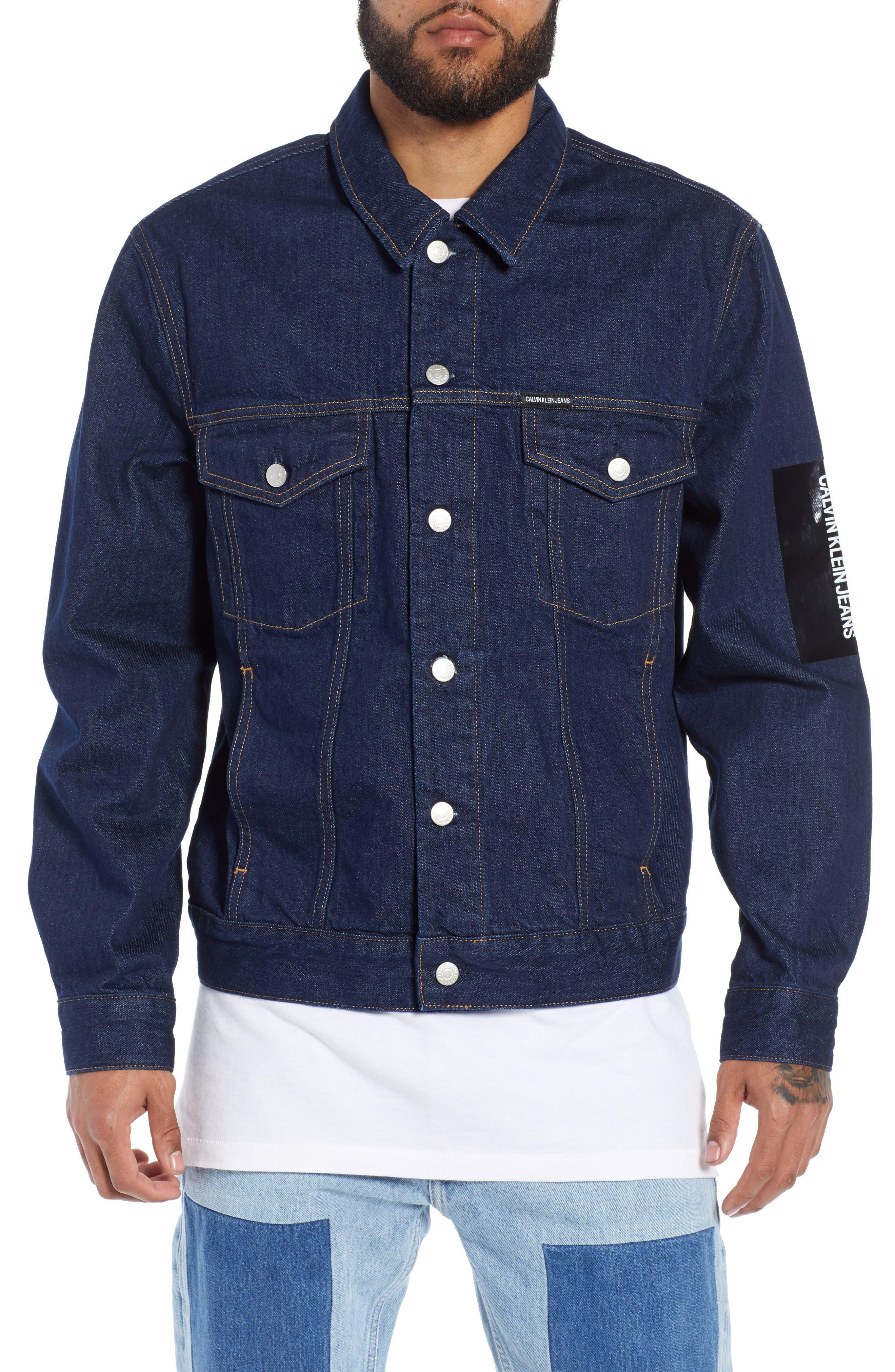 Placed Logo Denim Jacket,                         Main,                         color, RINSE