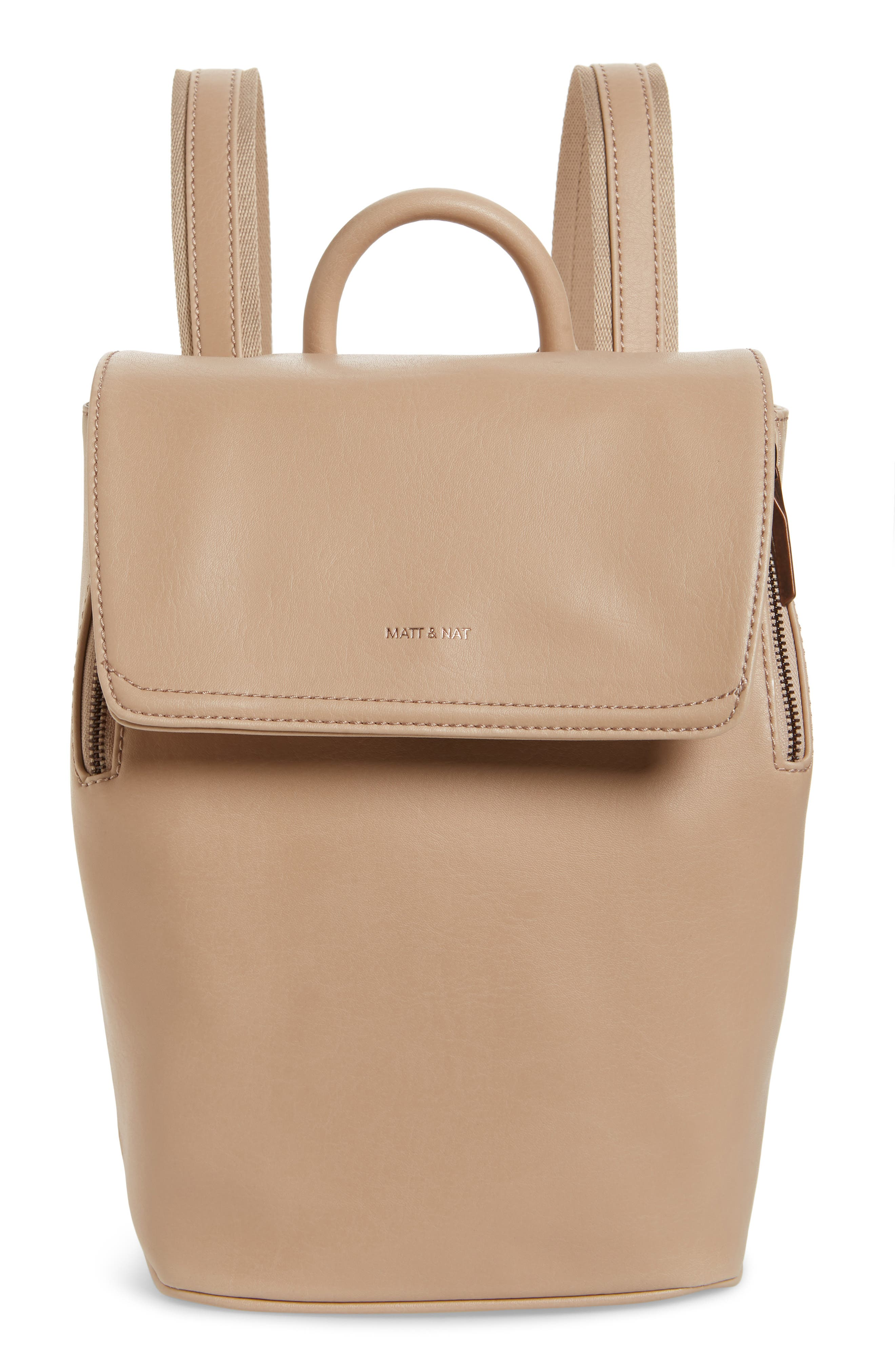 Matt & Nat Mini Fabi Faux Leather Backpack - Beige