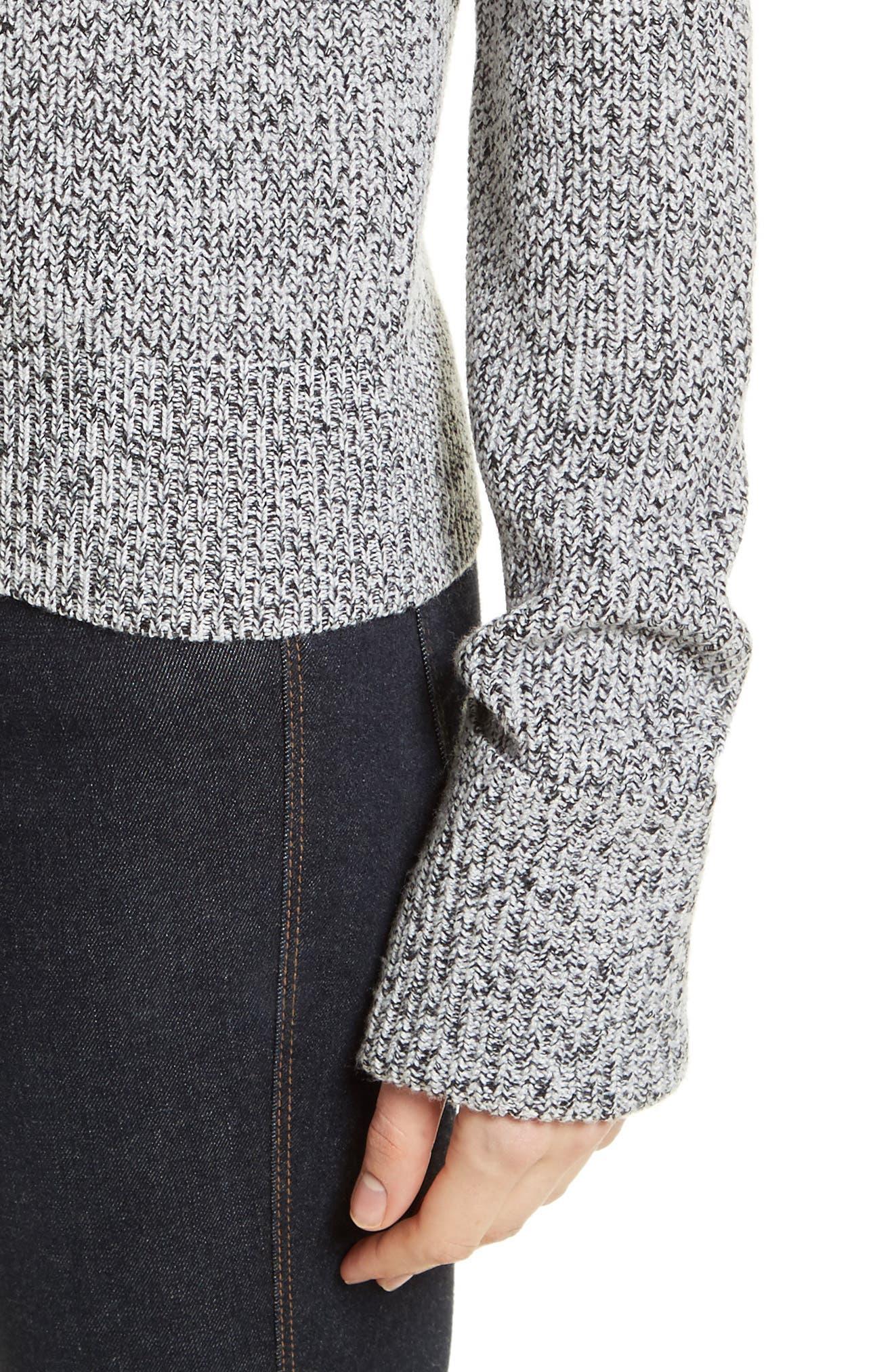 Rib Cuff Marled Sweater,                             Alternate thumbnail 4, color,                             020