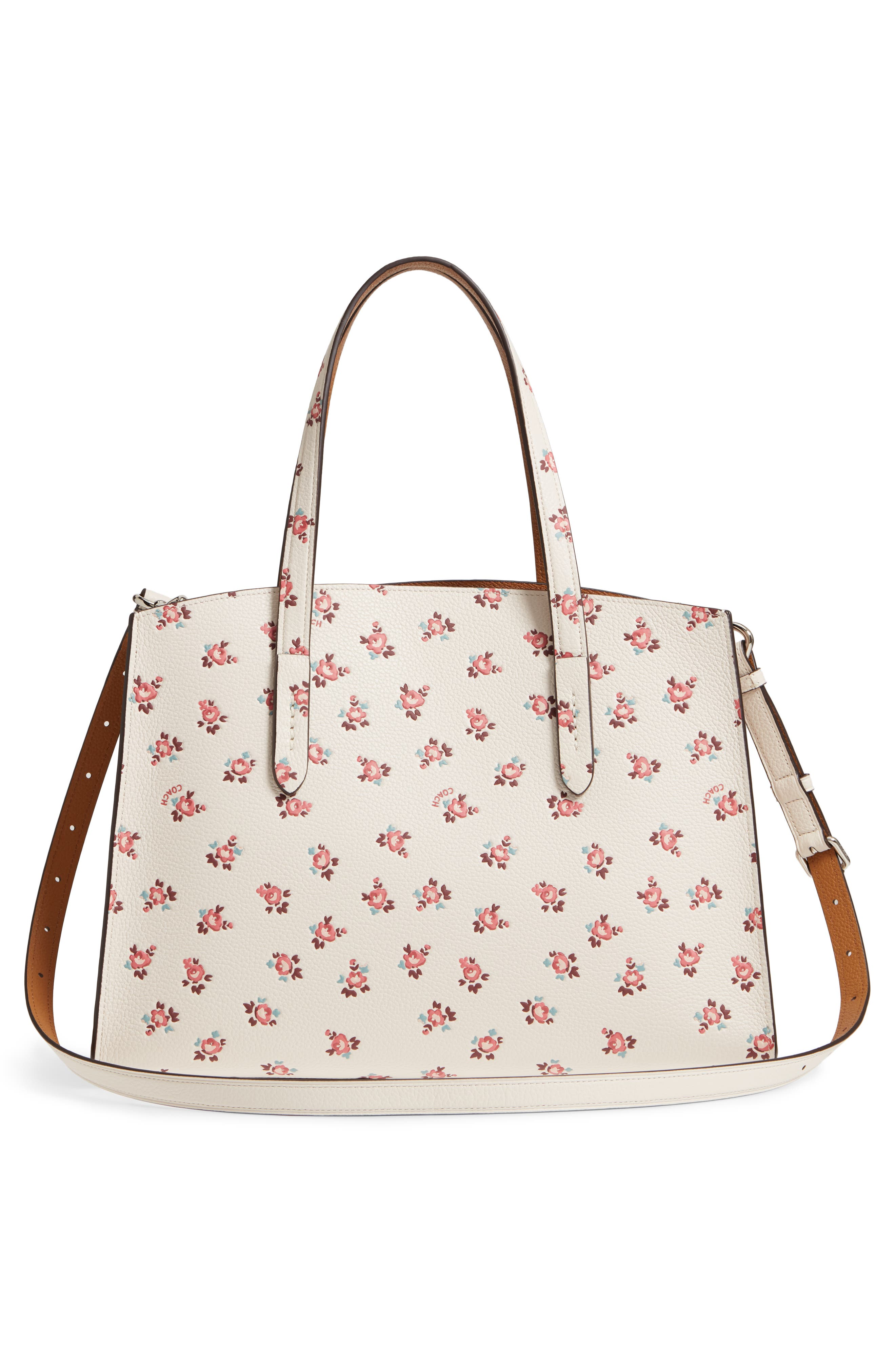 Charlie Floral Embossed Leather Tote,                             Alternate thumbnail 3, color,                             900