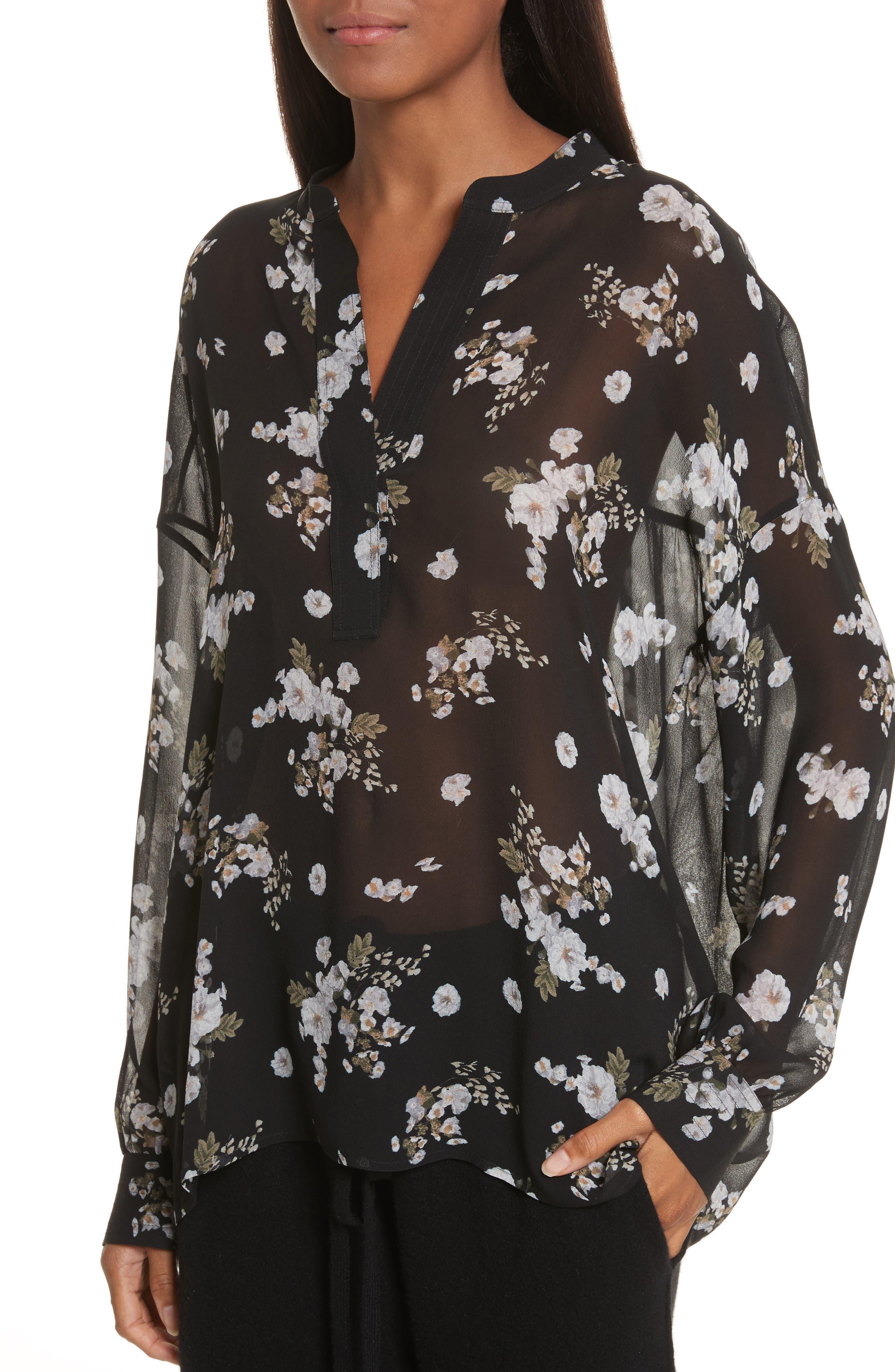 Shirred Floral Silk Blouse,                             Alternate thumbnail 4, color,                             001