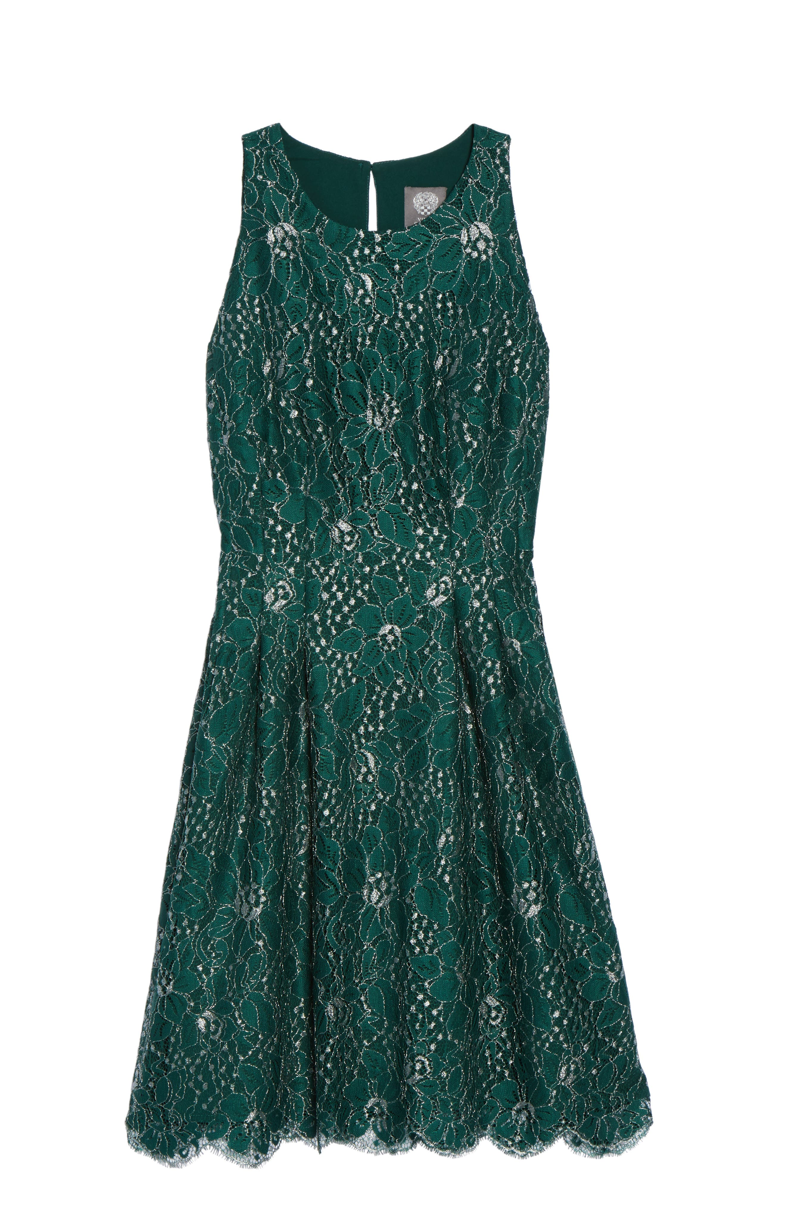 Metallic Lace Fit & Flare Dress,                             Alternate thumbnail 6, color,                             310