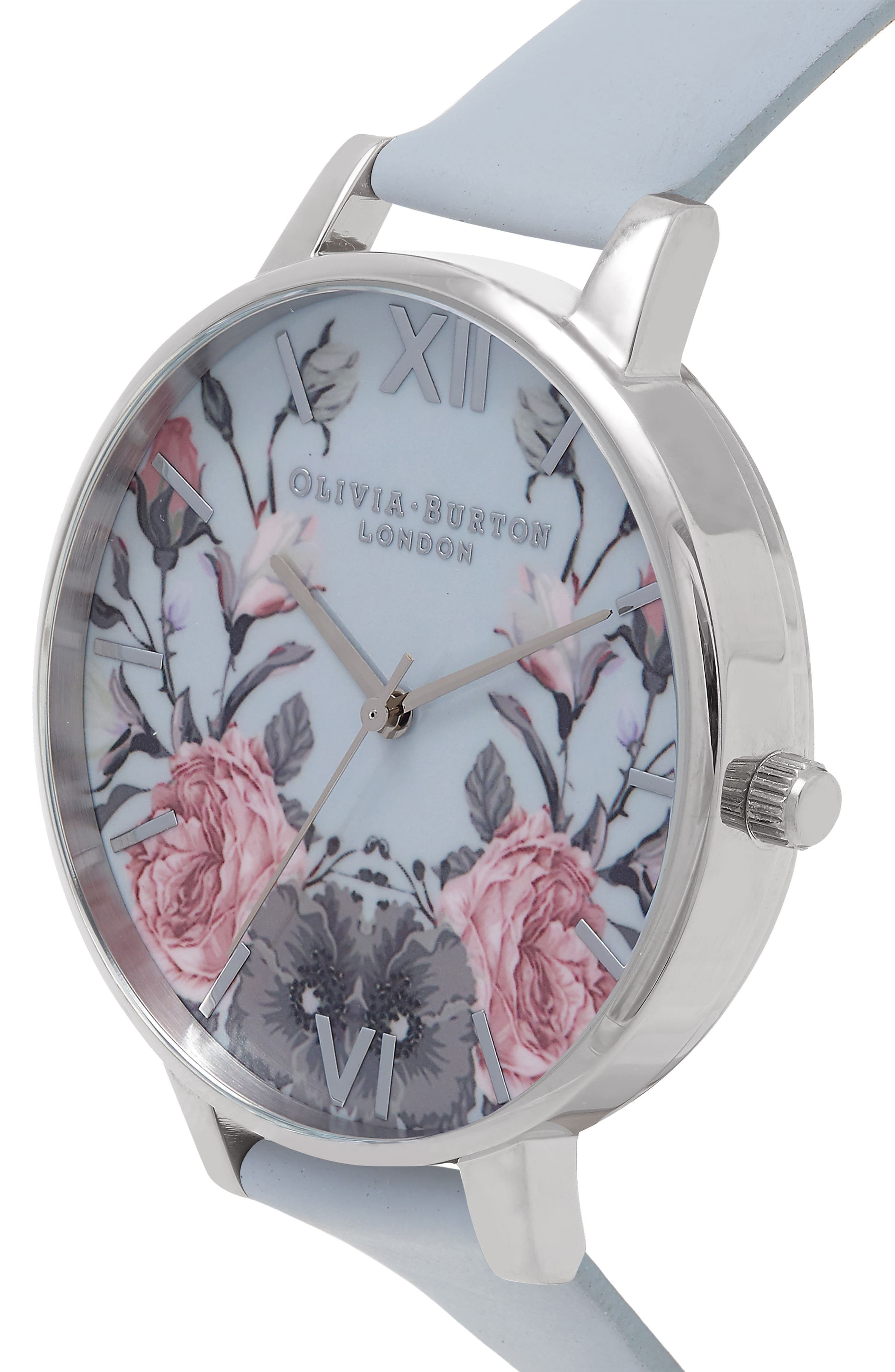 Enchanted Garden Leather Strap Watch, 38mm,                             Alternate thumbnail 3, color,                             400