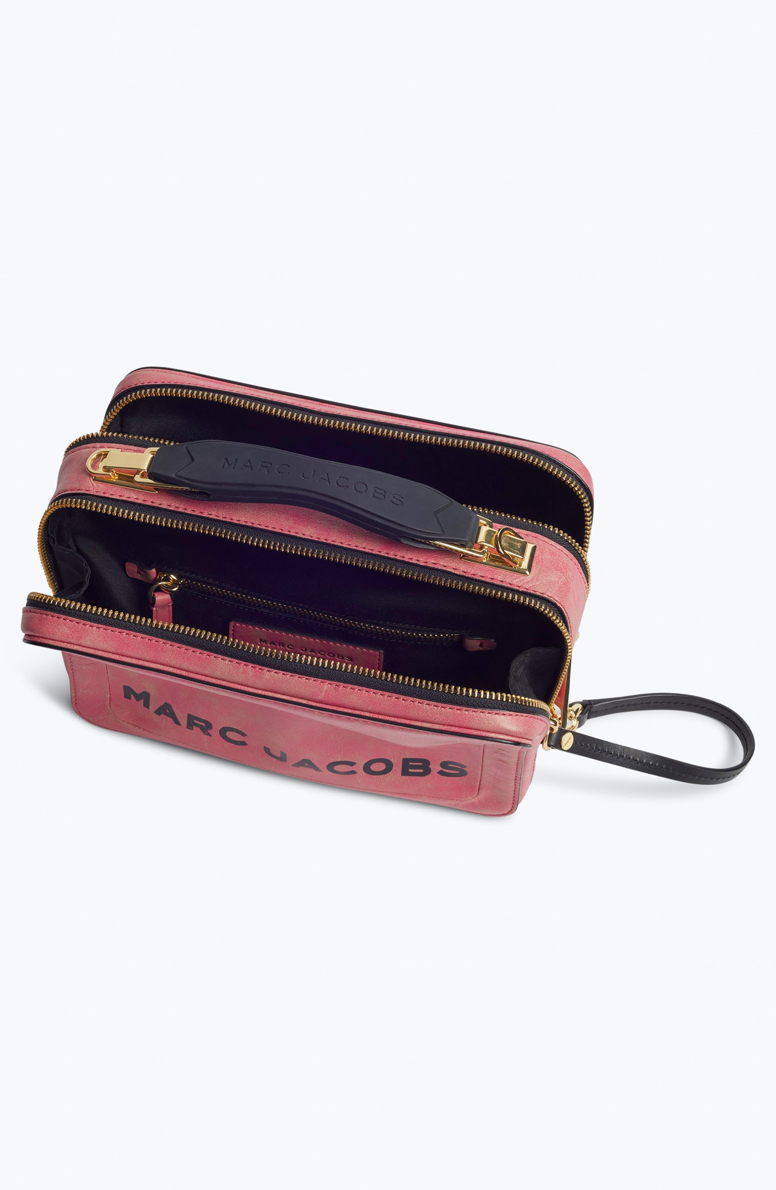 The Box Leather Handbag,                             Alternate thumbnail 3, color,                             PEONY