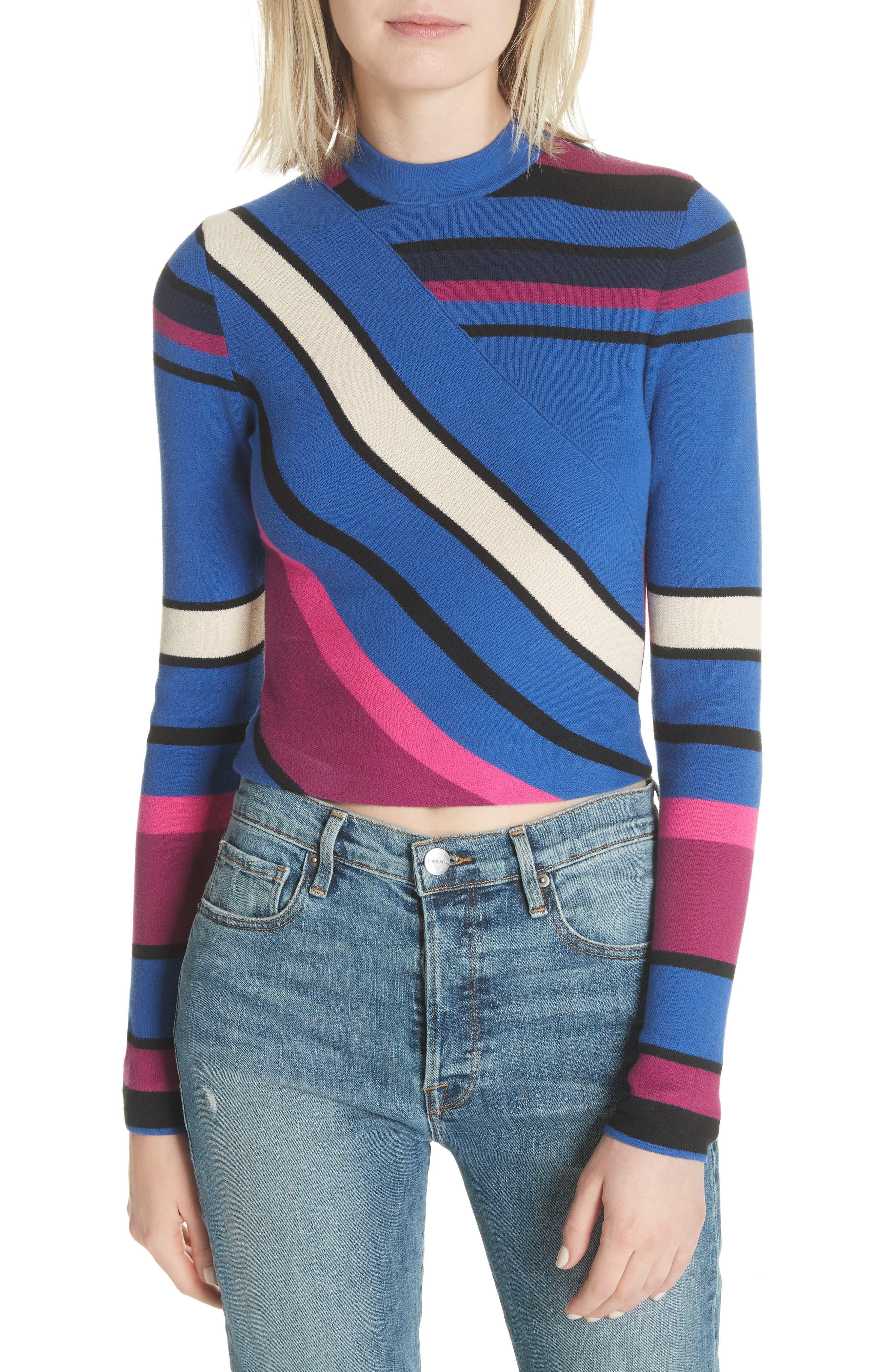 Stripe Crop Cotton Top,                             Main thumbnail 1, color,                             498