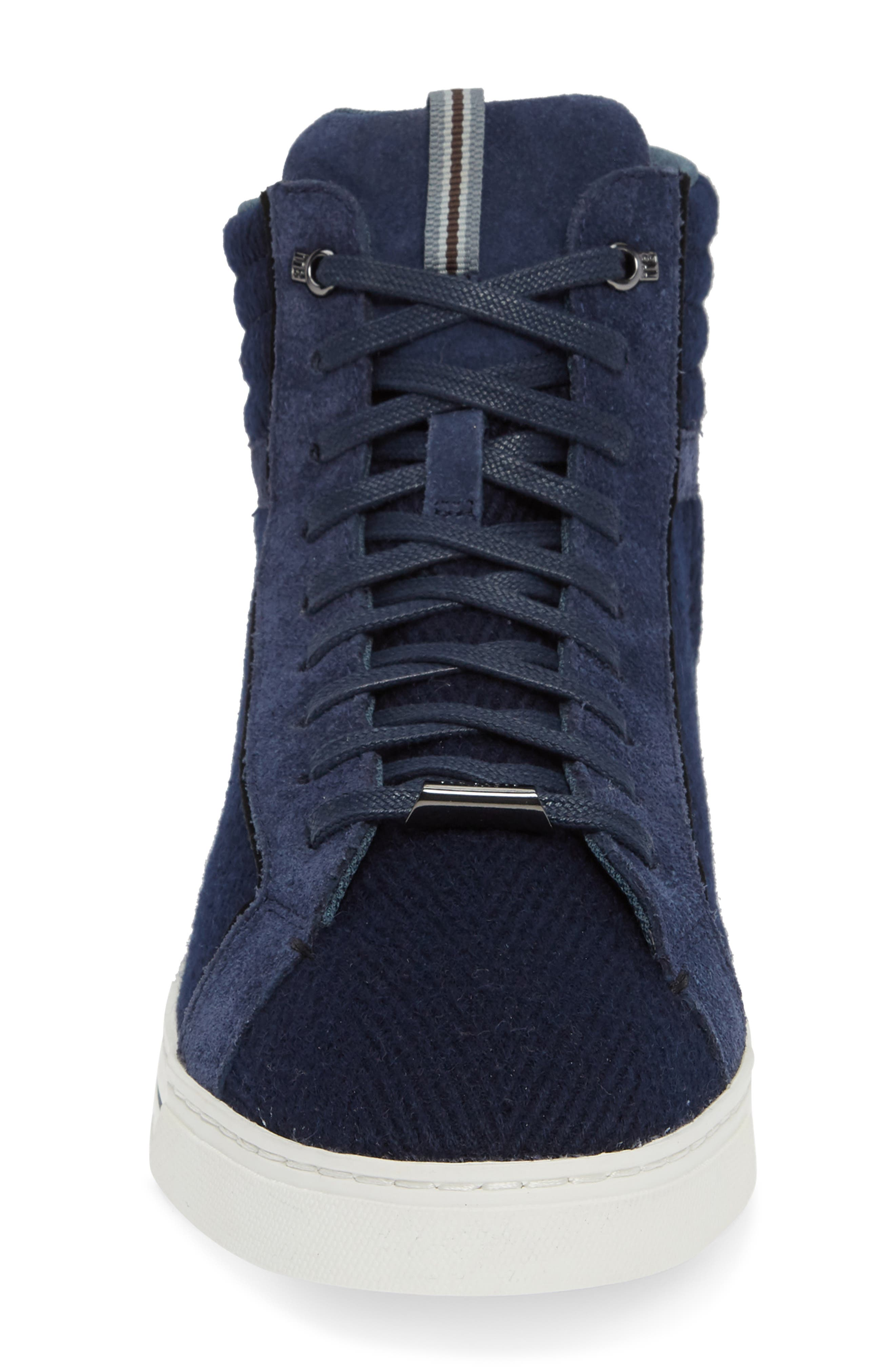 Luckan High Top Sneaker,                             Alternate thumbnail 4, color,                             DARK BLUE FABRIC
